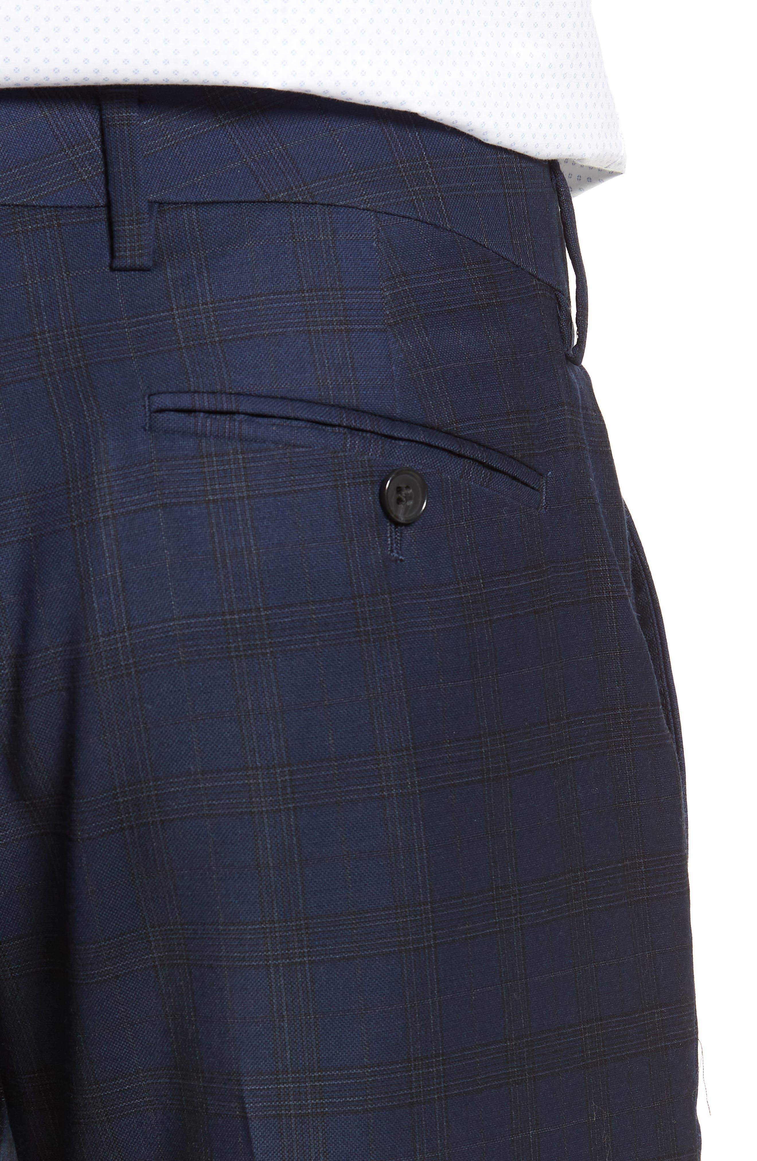 Jetsetter Slim Fit Stretch Suit Pants,                             Alternate thumbnail 4, color,                             SUBTLE NAVY PLAID