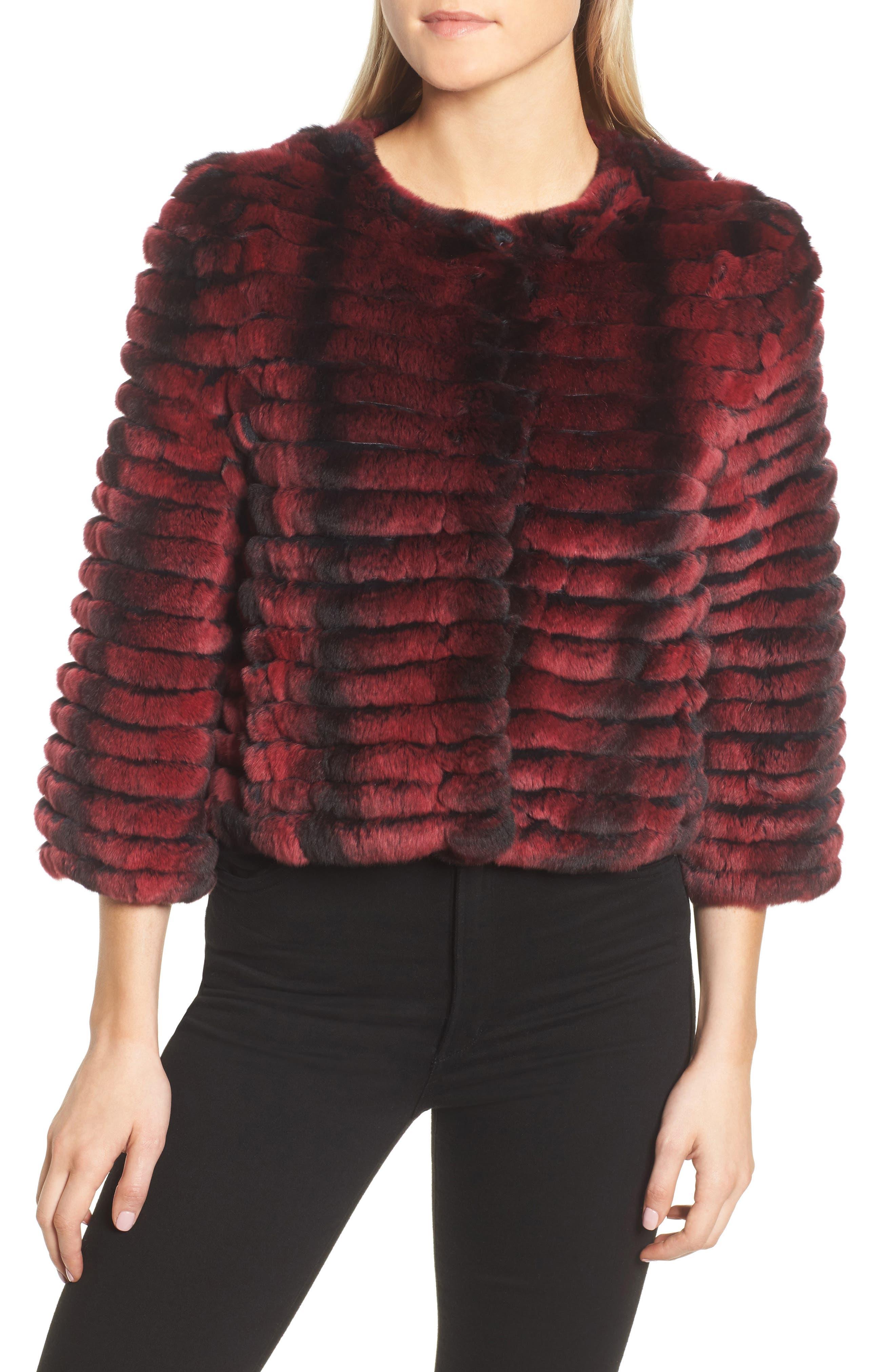 Genuine Rabbit Fur Crop Jacket,                             Alternate thumbnail 7, color,