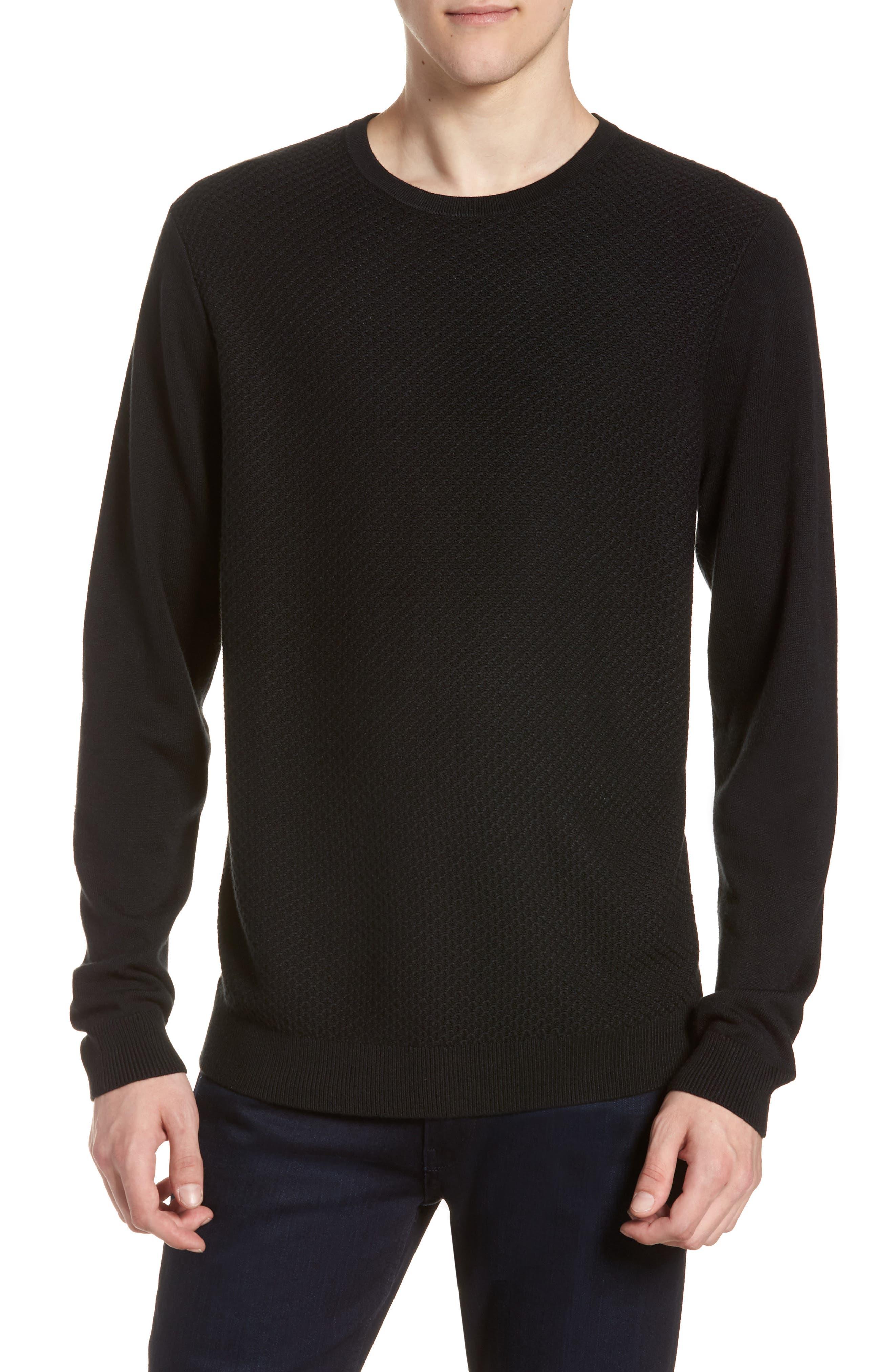 Honeycomb Crewneck Sweater,                             Main thumbnail 1, color,                             001