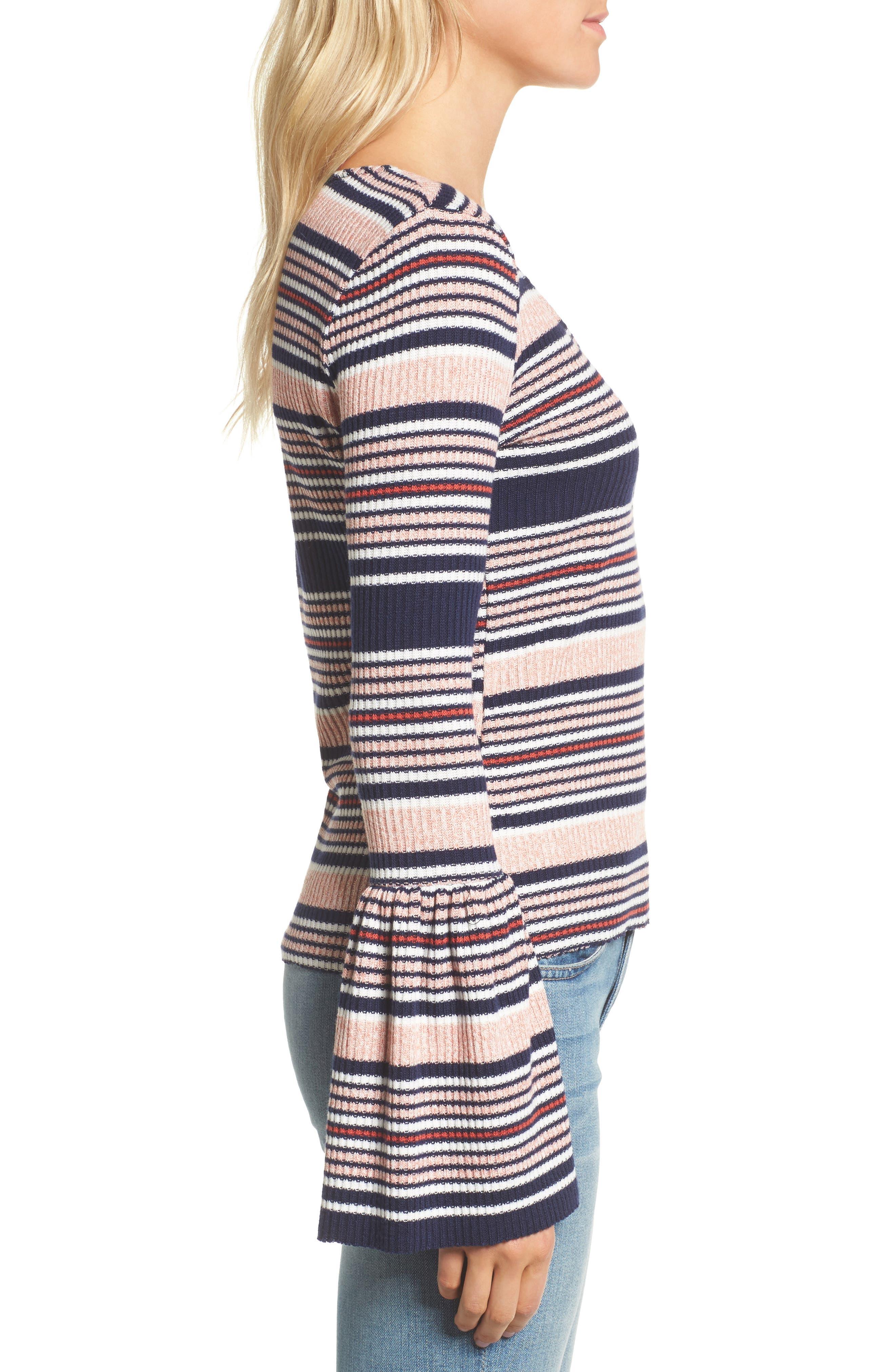 Stripe Bell Sleeve Tee,                             Alternate thumbnail 3, color,                             MULTI