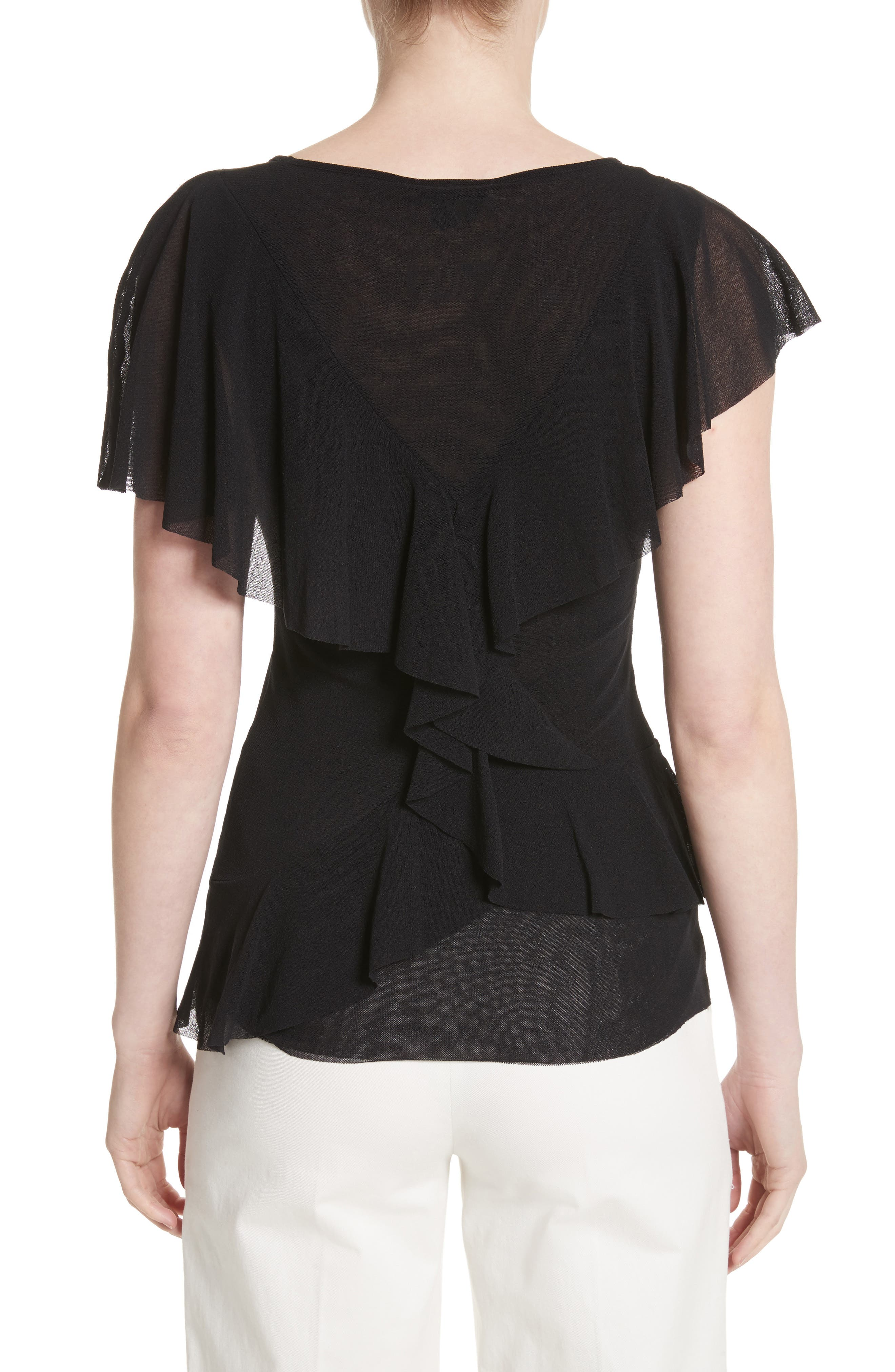Ruffle Tulle Top,                             Alternate thumbnail 2, color,                             001