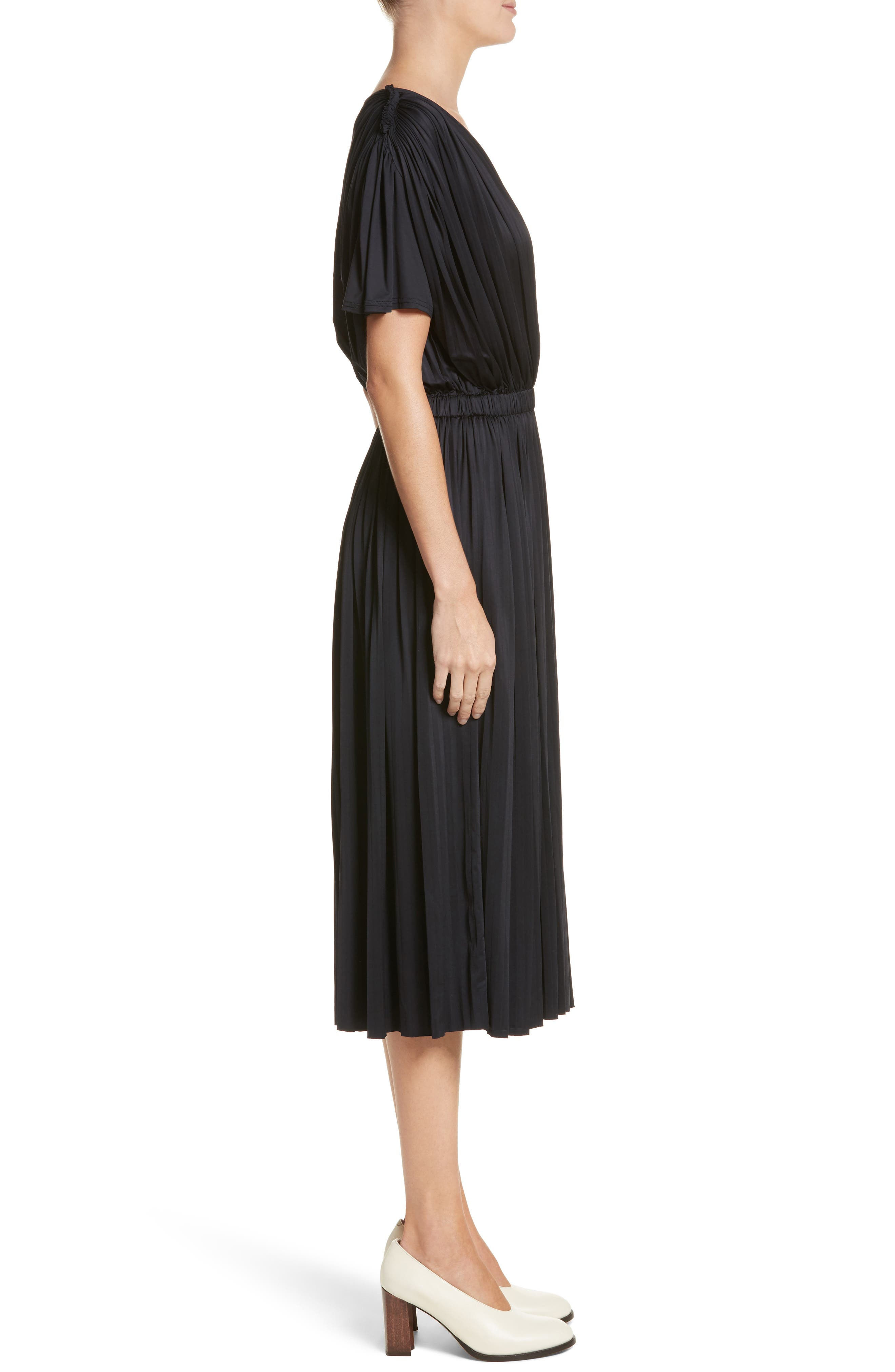 Fluid Jersey Dress,                             Alternate thumbnail 3, color,                             BLACK
