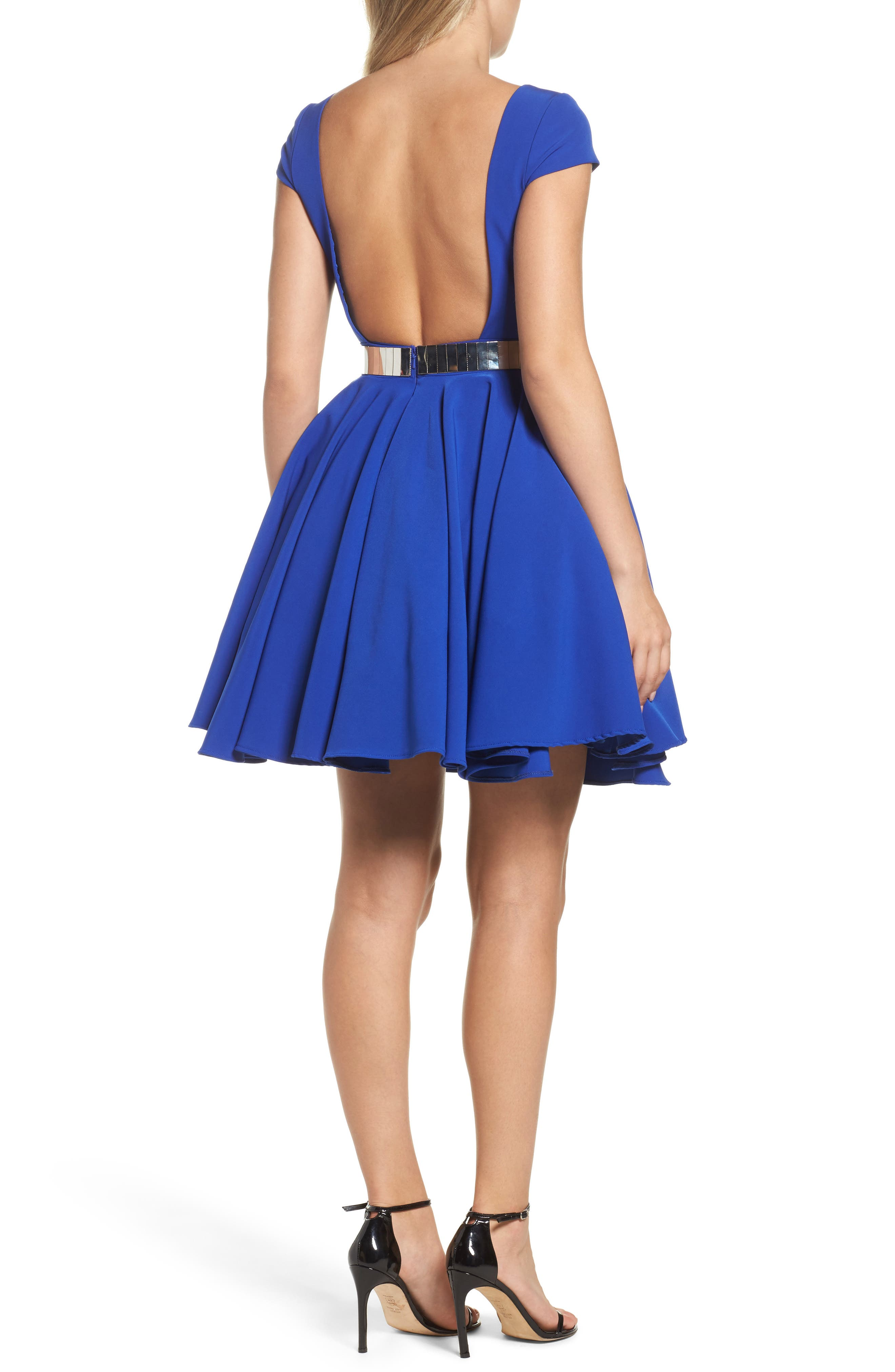 Belted Open Back Fit & Flare Dress,                             Alternate thumbnail 2, color,                             465