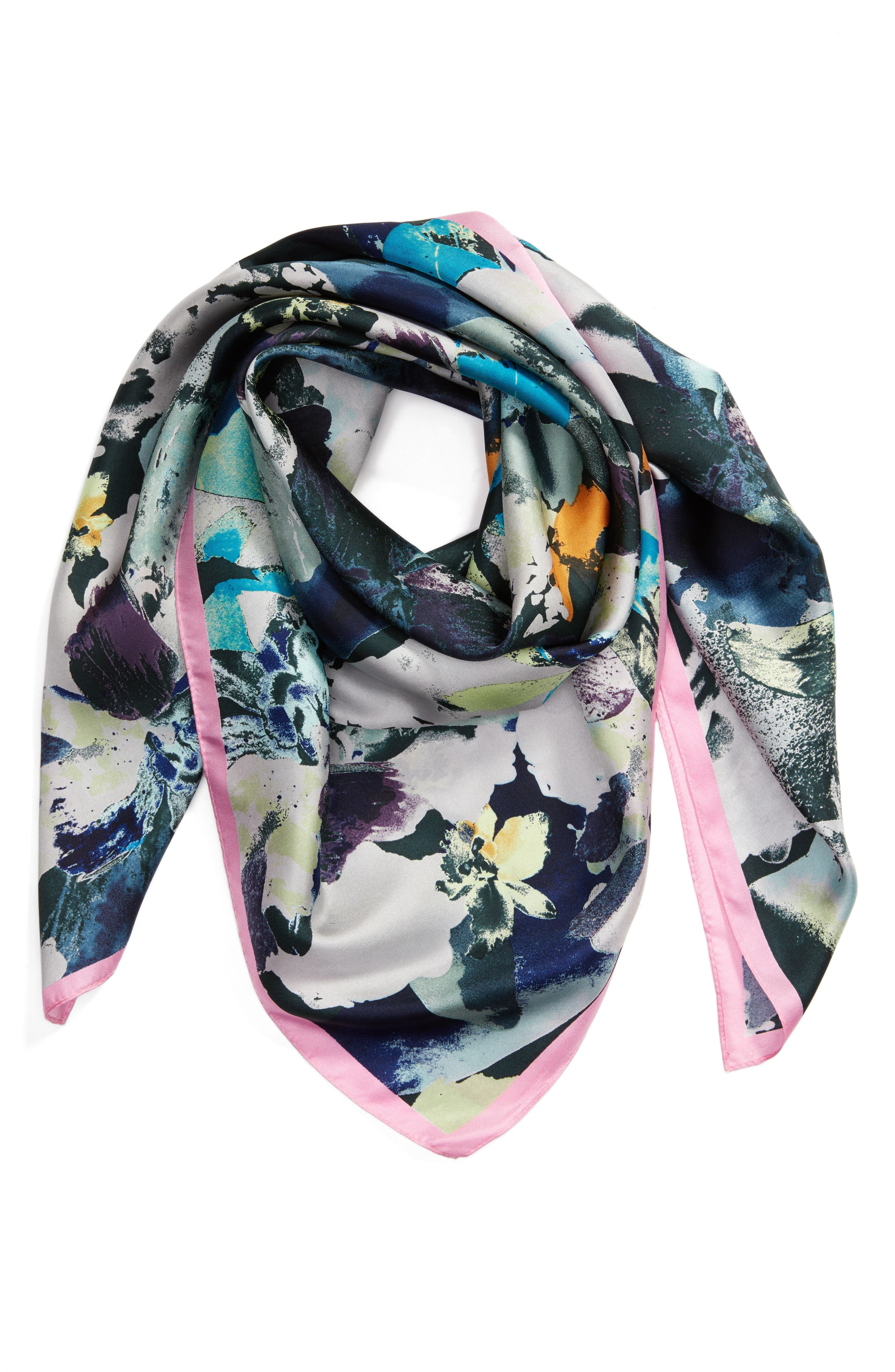 Floral Photo Smash Square Silk Scarf,                             Alternate thumbnail 2, color,                             017