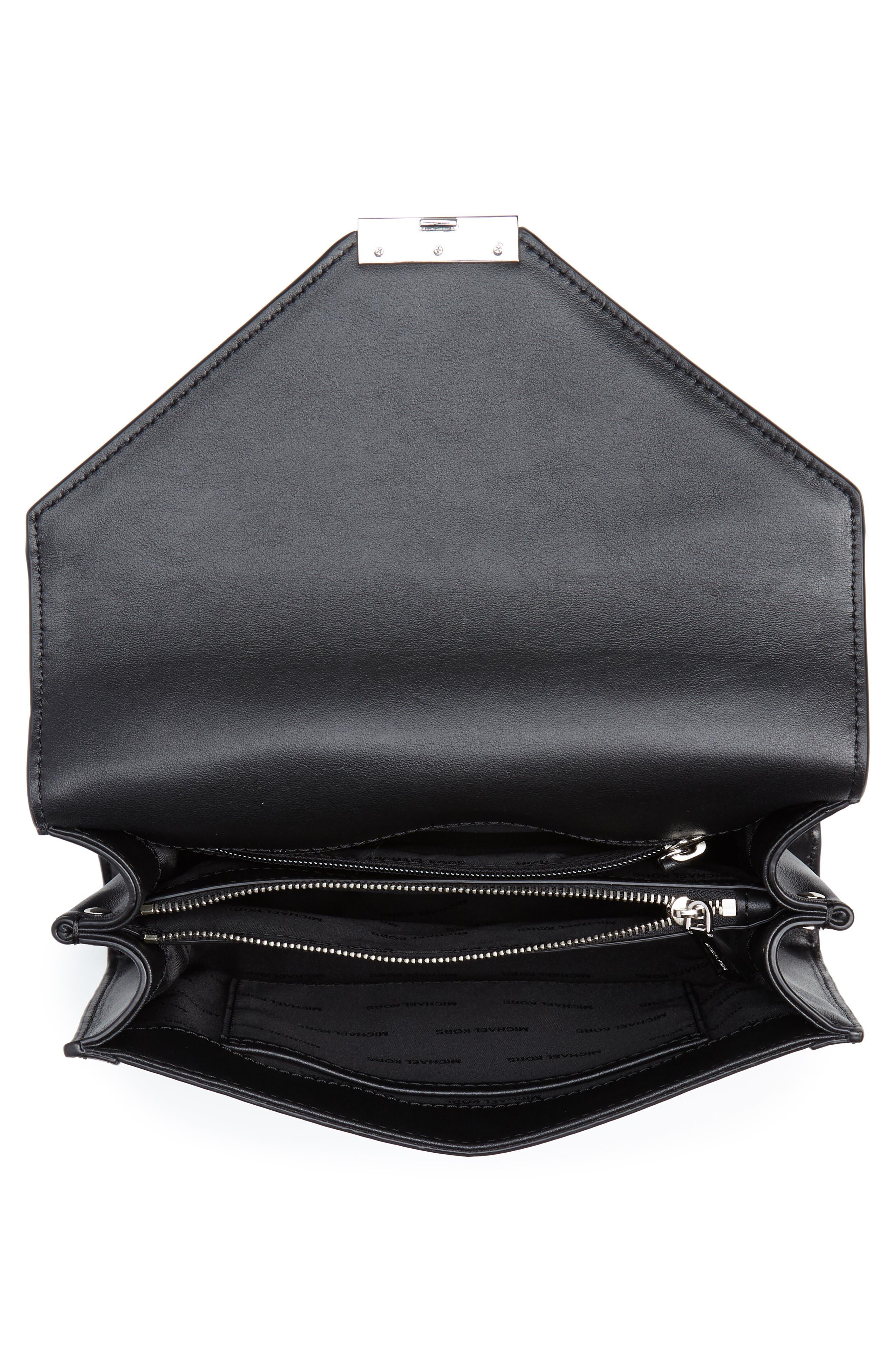 Large Whitney Leather Shoulder Bag,                             Alternate thumbnail 4, color,                             BLACK