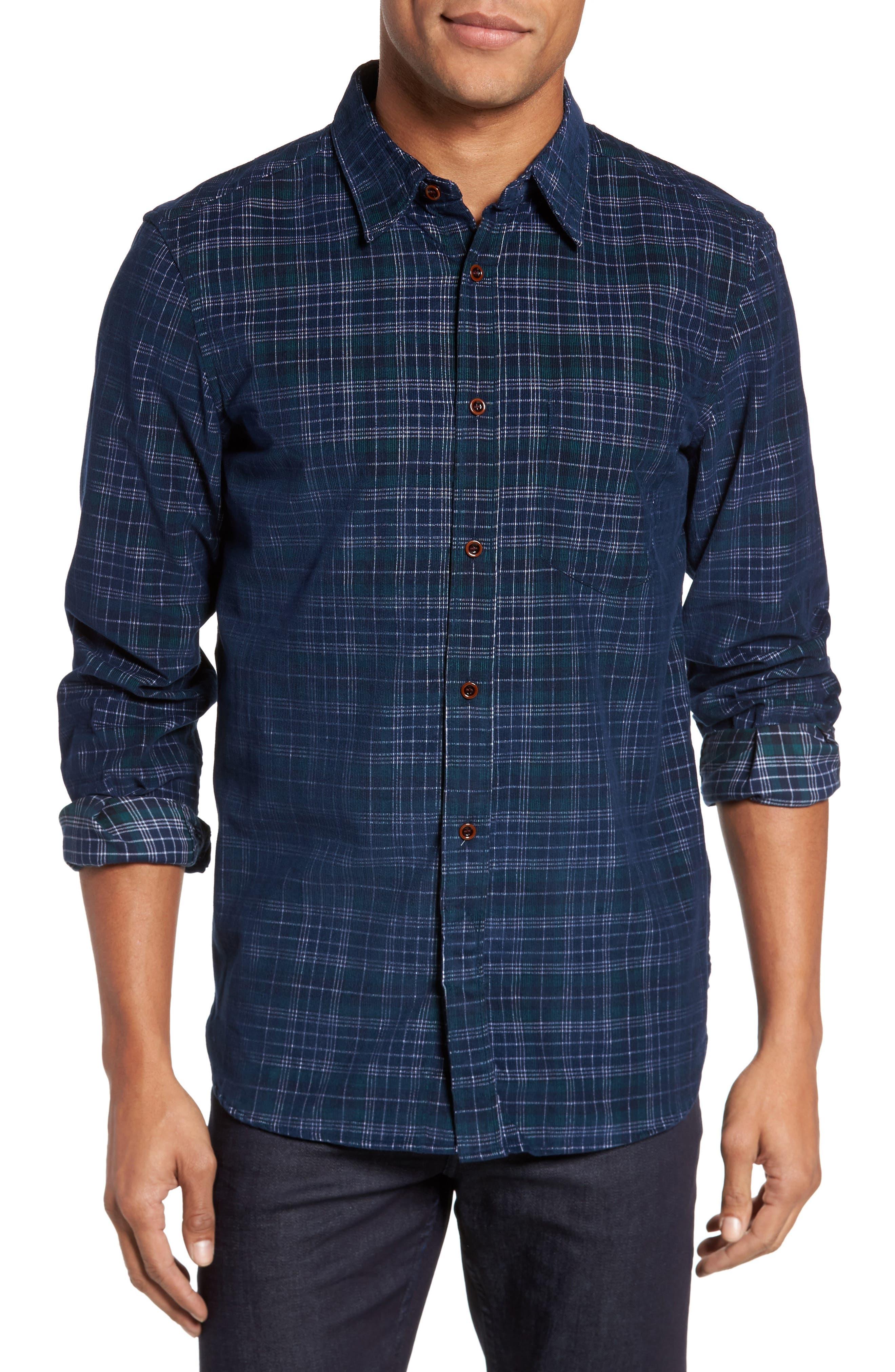 Plaid Corduroy Sport Shirt,                         Main,                         color, 345