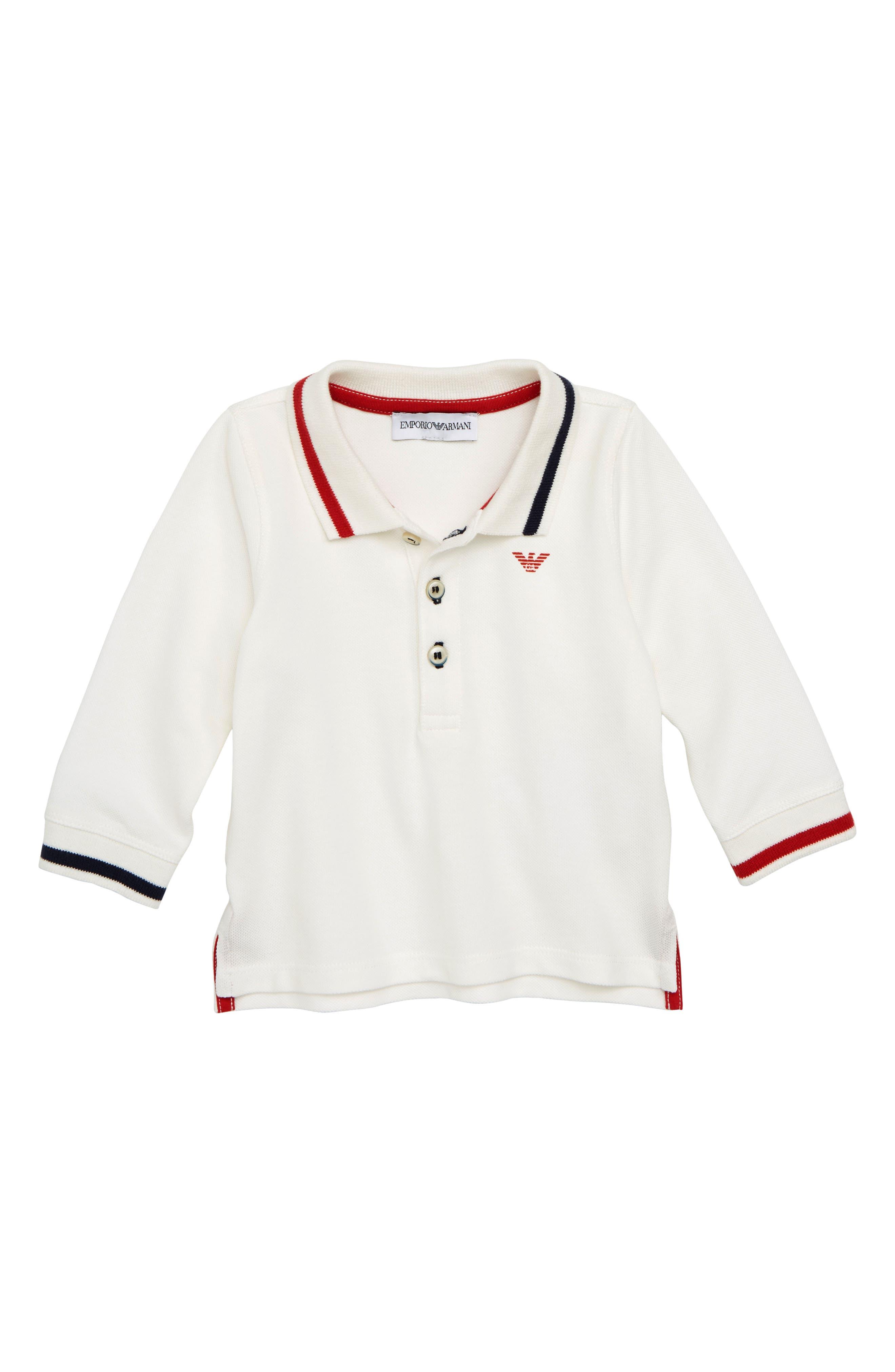 Cotton Piqué Long Sleeve Polo,                             Main thumbnail 1, color,                             100