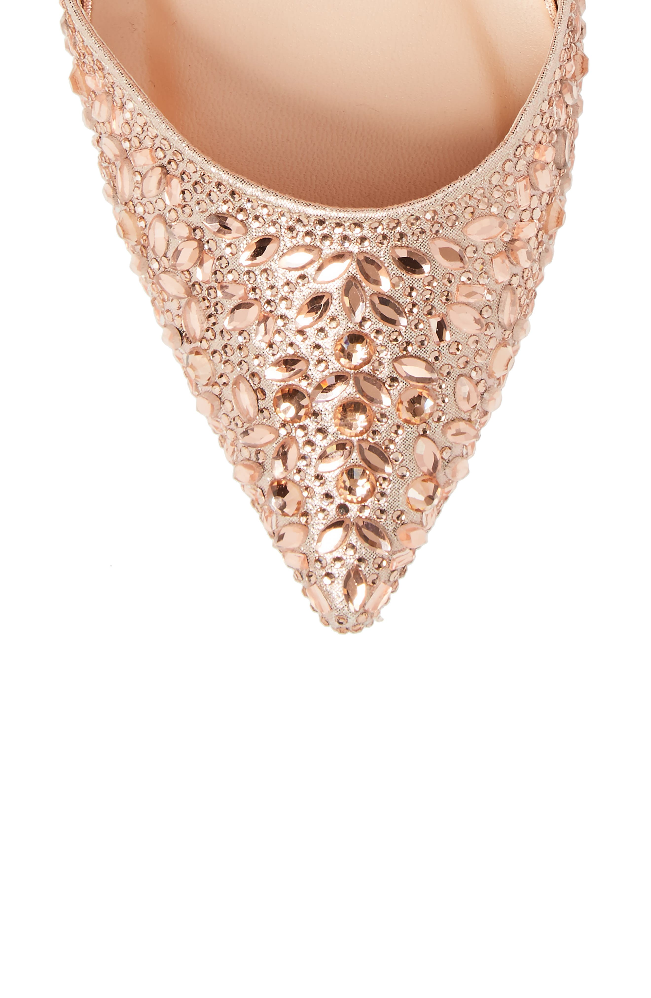 Rose Crystal Embellished d'Orsay Pump,                             Alternate thumbnail 5, color,                             ROSE GOLD