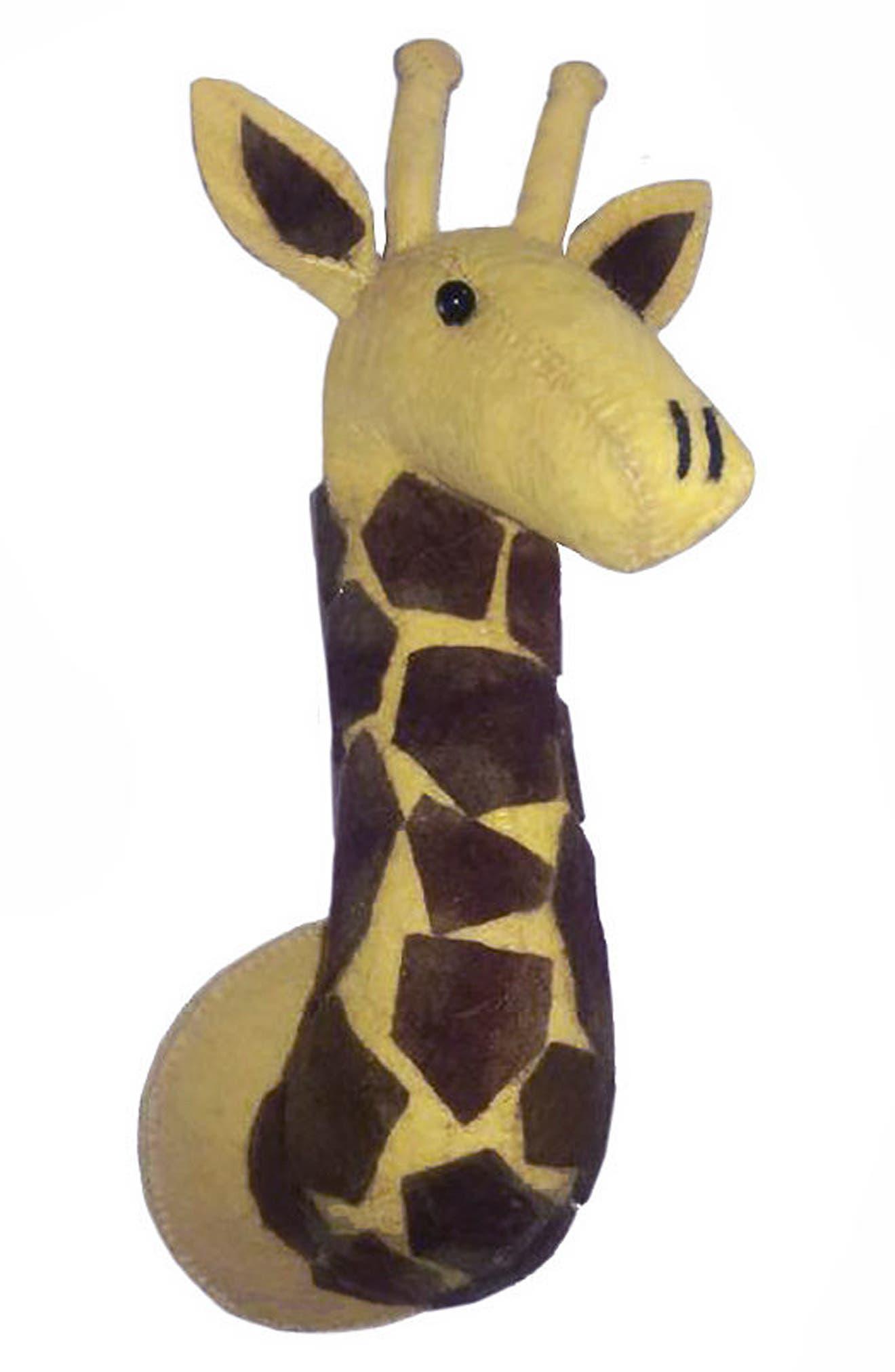 FIONA WALKER,                             Mini Giraffe Head Wall Art,                             Main thumbnail 1, color,                             BROWN