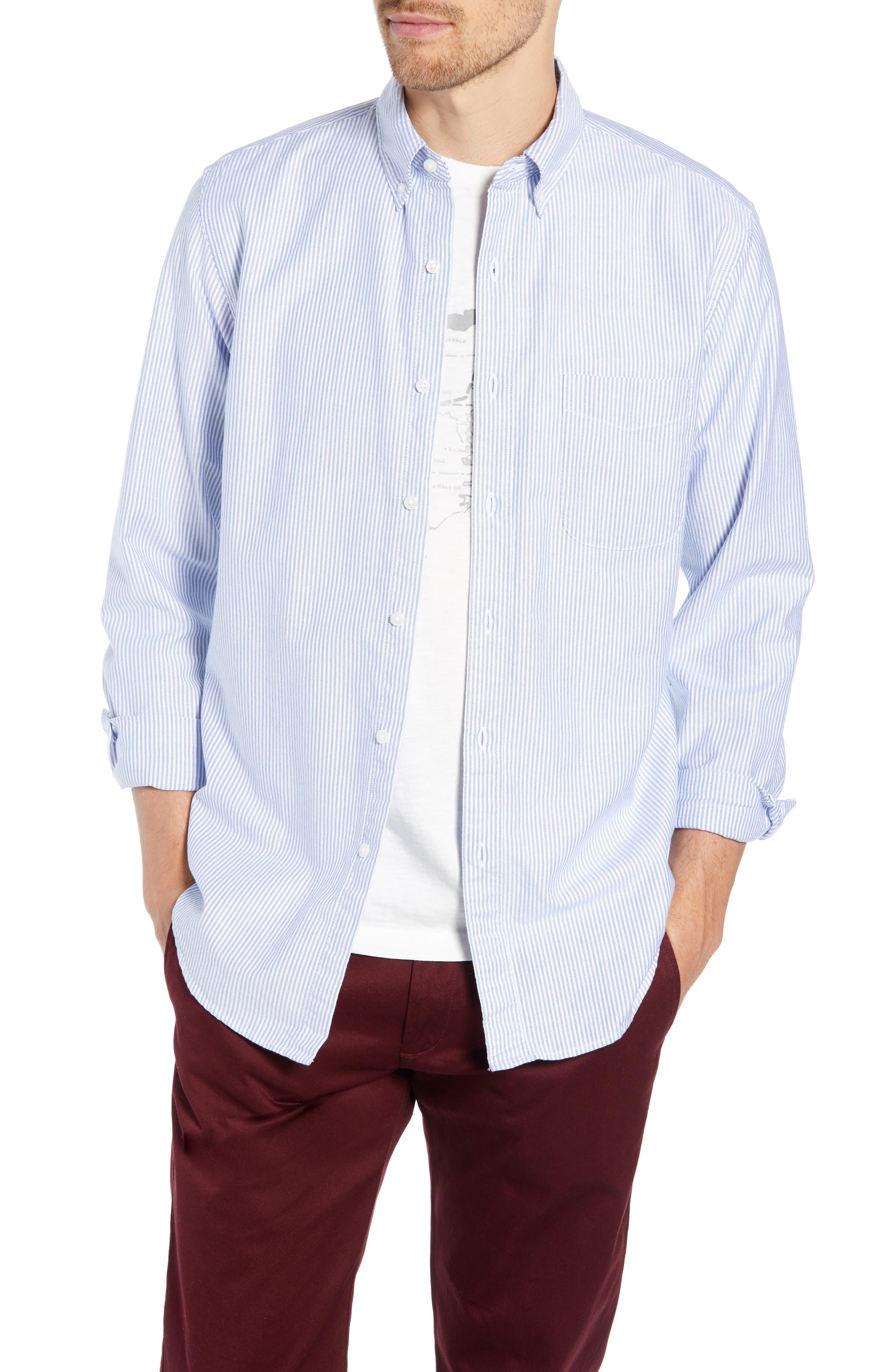 Stripe Pima Cotton Oxford Sport Shirt,                         Main,                         color, RAINCOAT BLUE