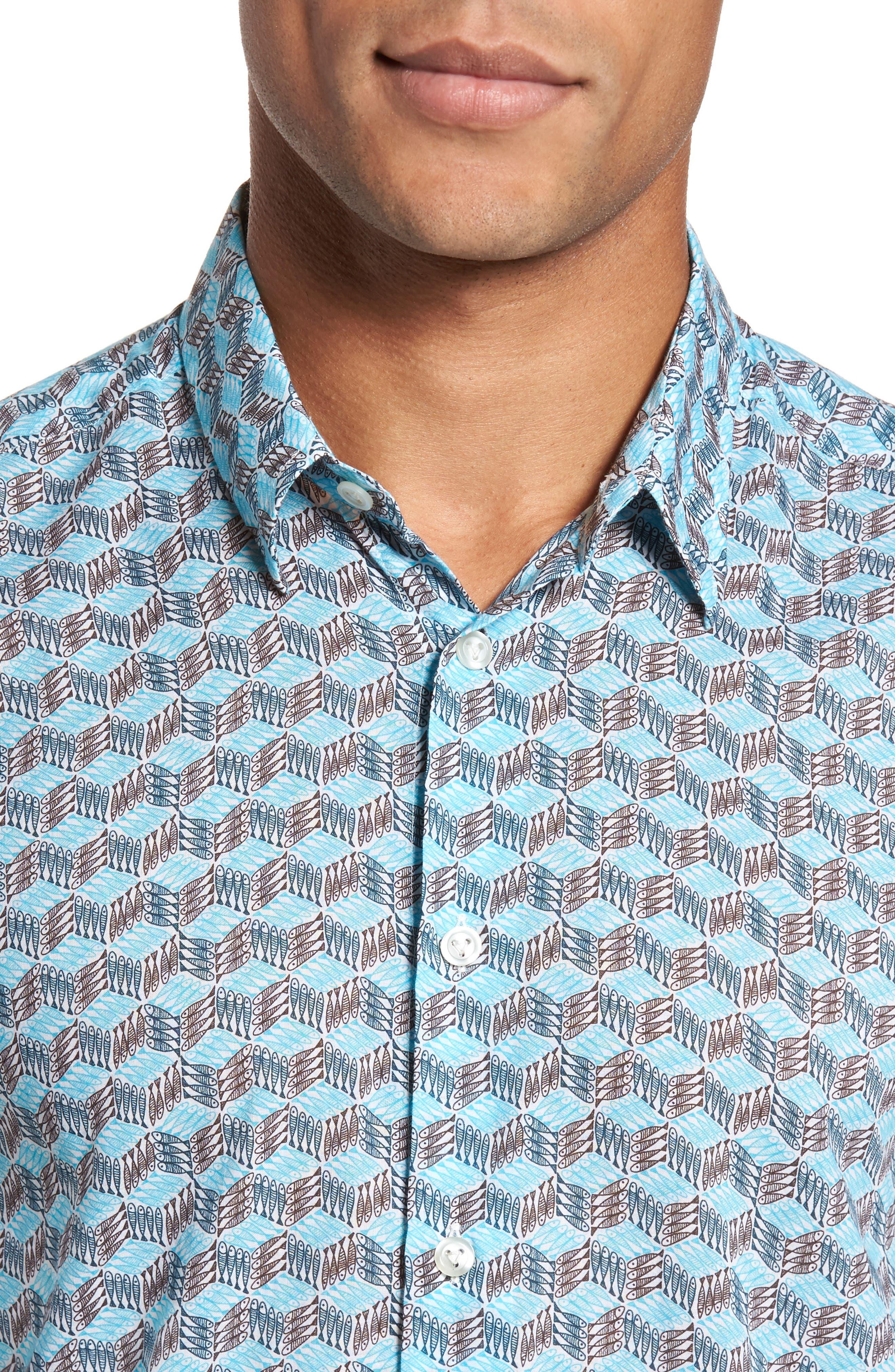 Cubed Fish Cotton Voile Sport Shirt,                             Alternate thumbnail 4, color,                             AZURE