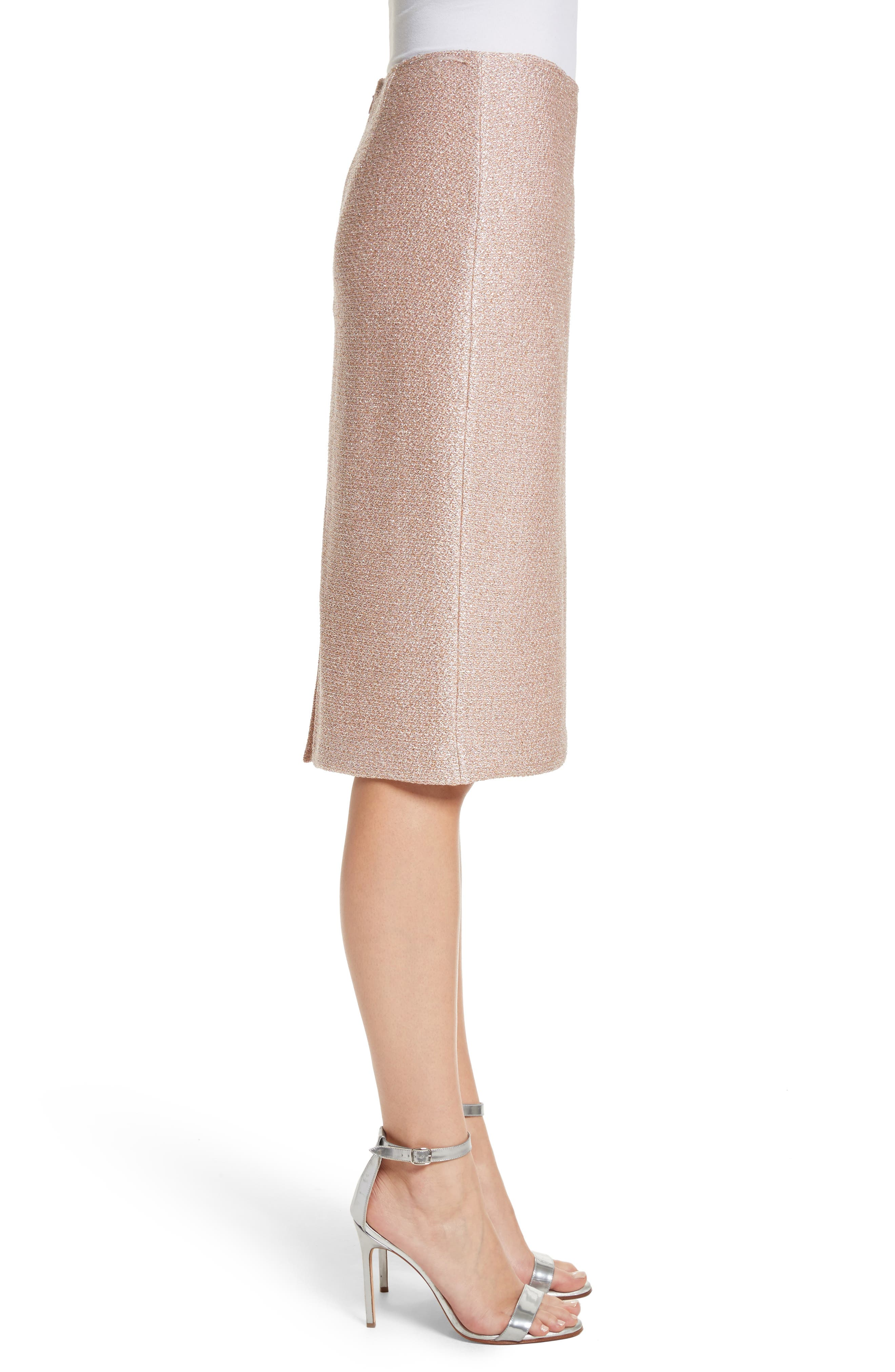 ST. JOHN COLLECTION,                             Frosted Metallic Knit Pencil Skirt,                             Alternate thumbnail 3, color,                             660