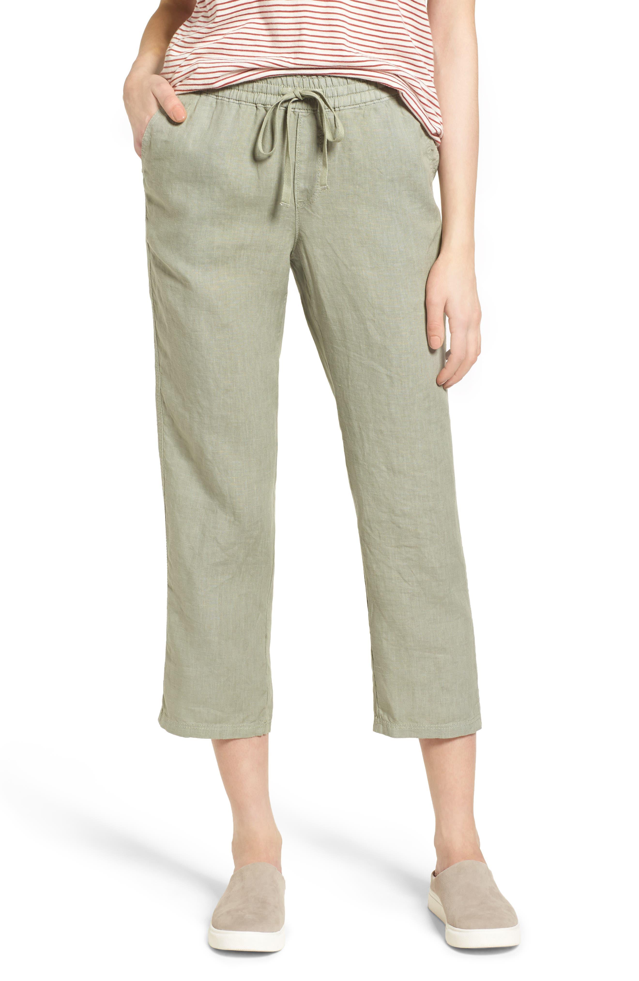 Linen Crop Pants,                             Main thumbnail 5, color,