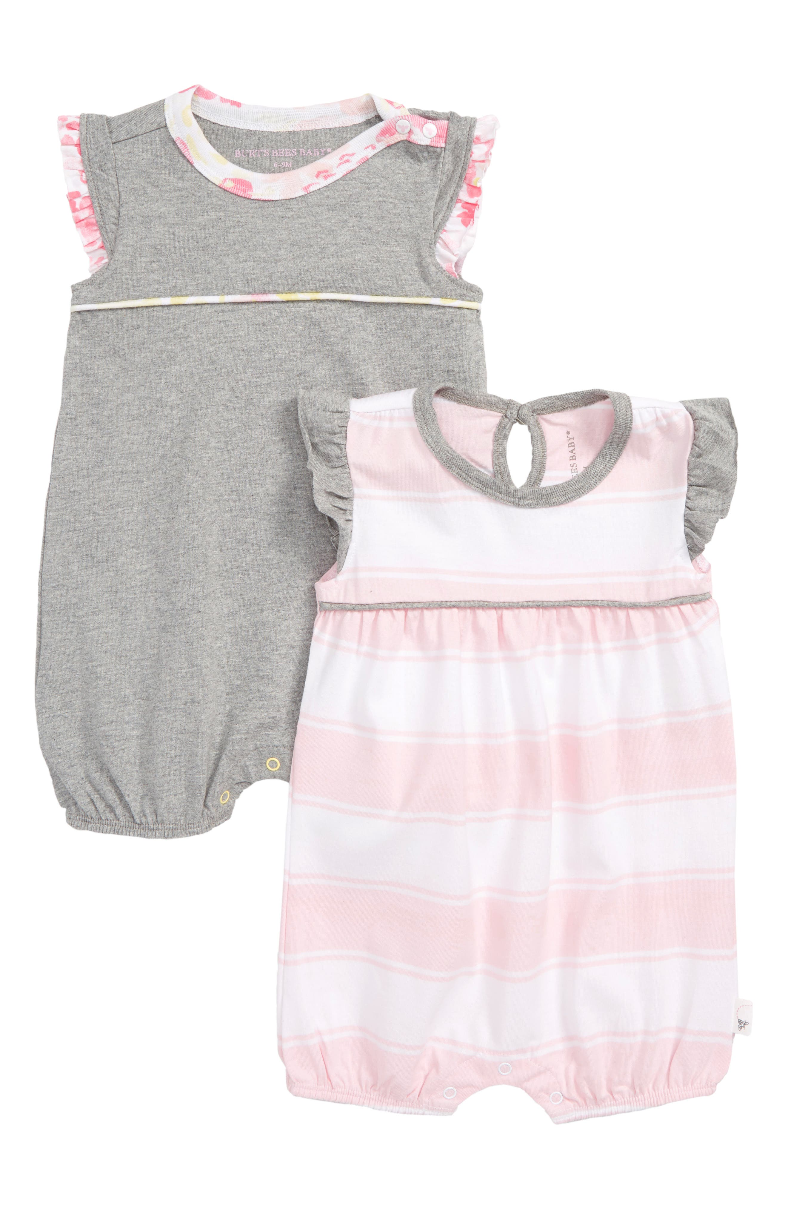 Infant Girls Burts Bees Baby 2Pack Organic Cotton Bubble Rompers