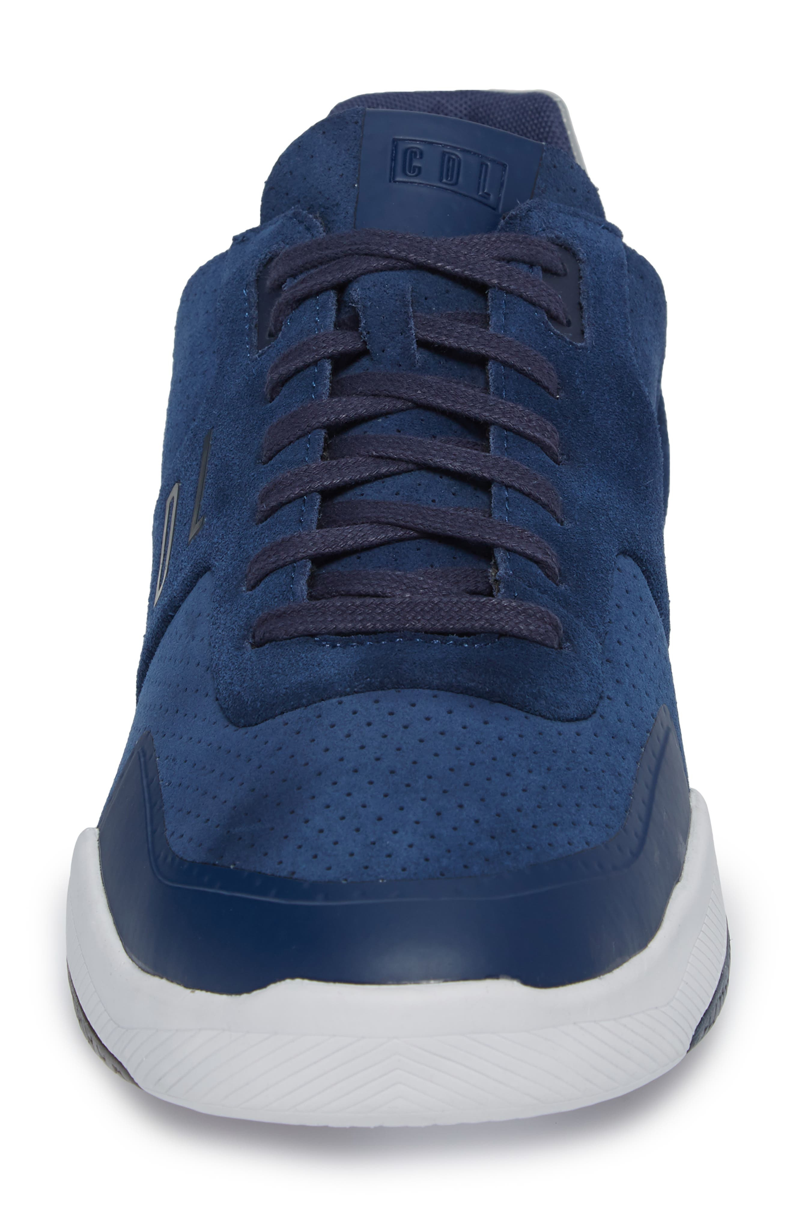 Shima Low Top Sneaker,                             Alternate thumbnail 4, color,                             NAVY SUEDE