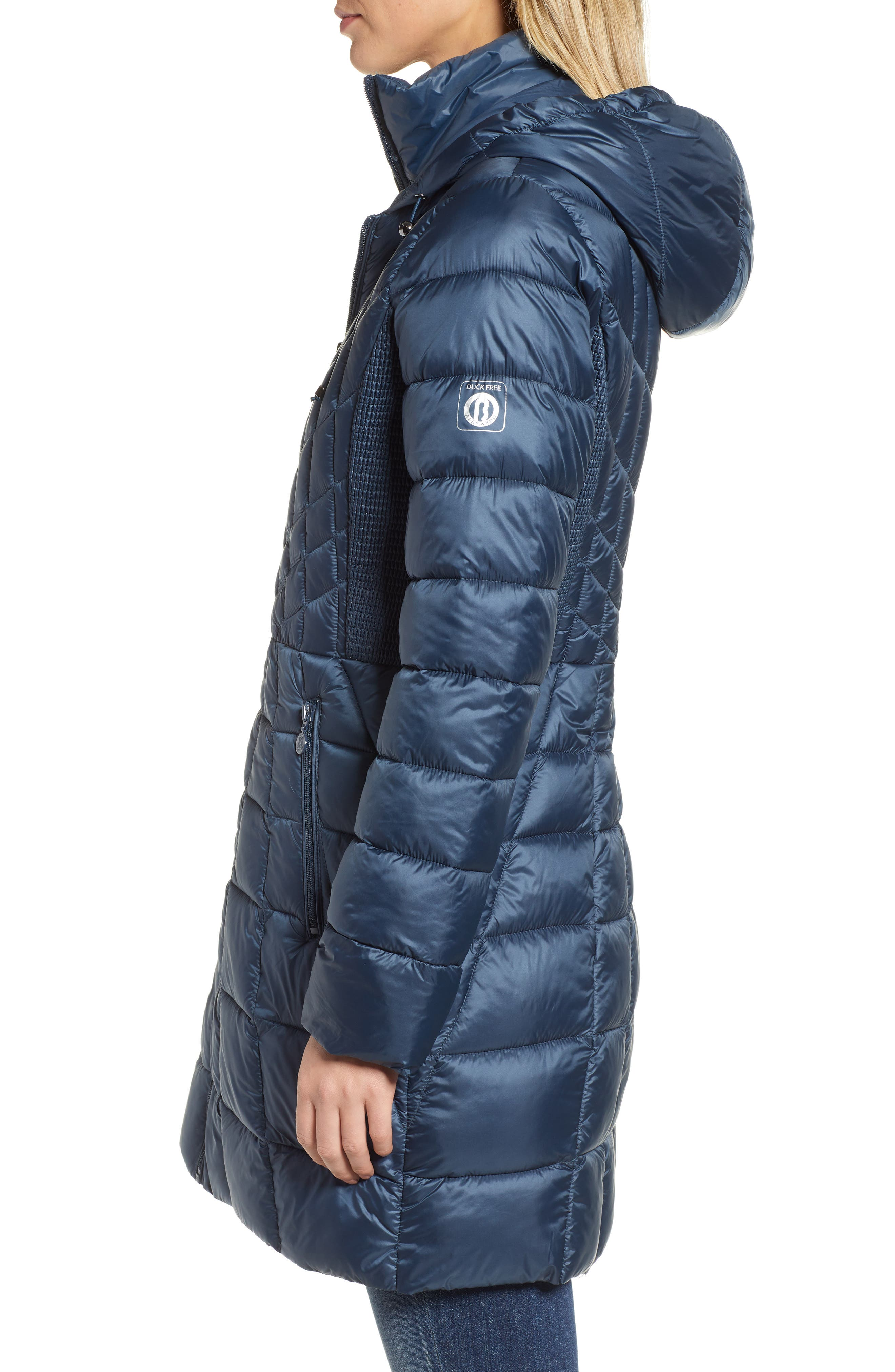 Packable Hooded PrimaLoft<sup>®</sup> Fill Coat with Contrast Inset Bib,                             Alternate thumbnail 4, color,                             DEEP WATER