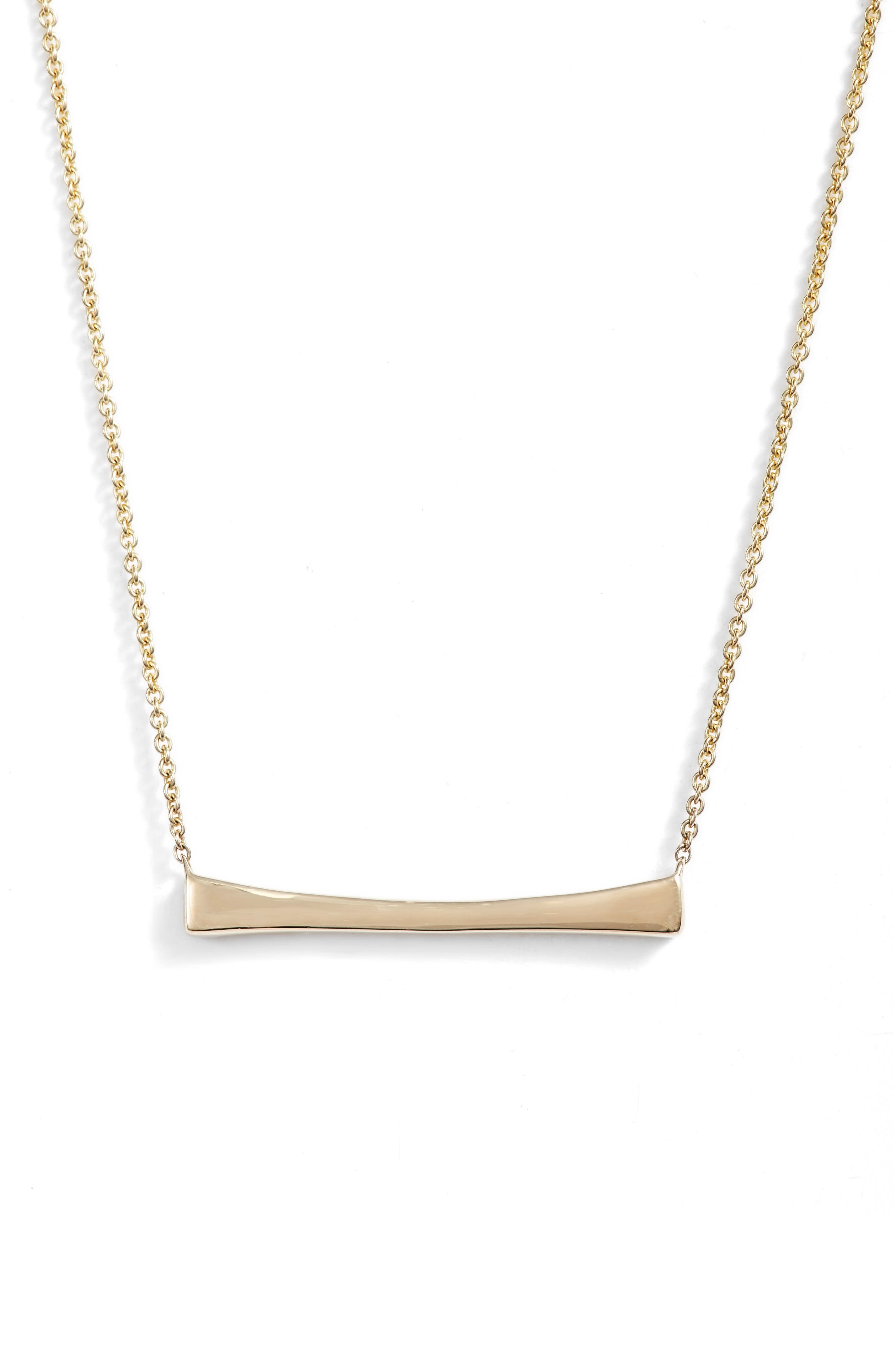 Curved Bar Pendant Necklace,                             Main thumbnail 1, color,                             YELLOW GOLD