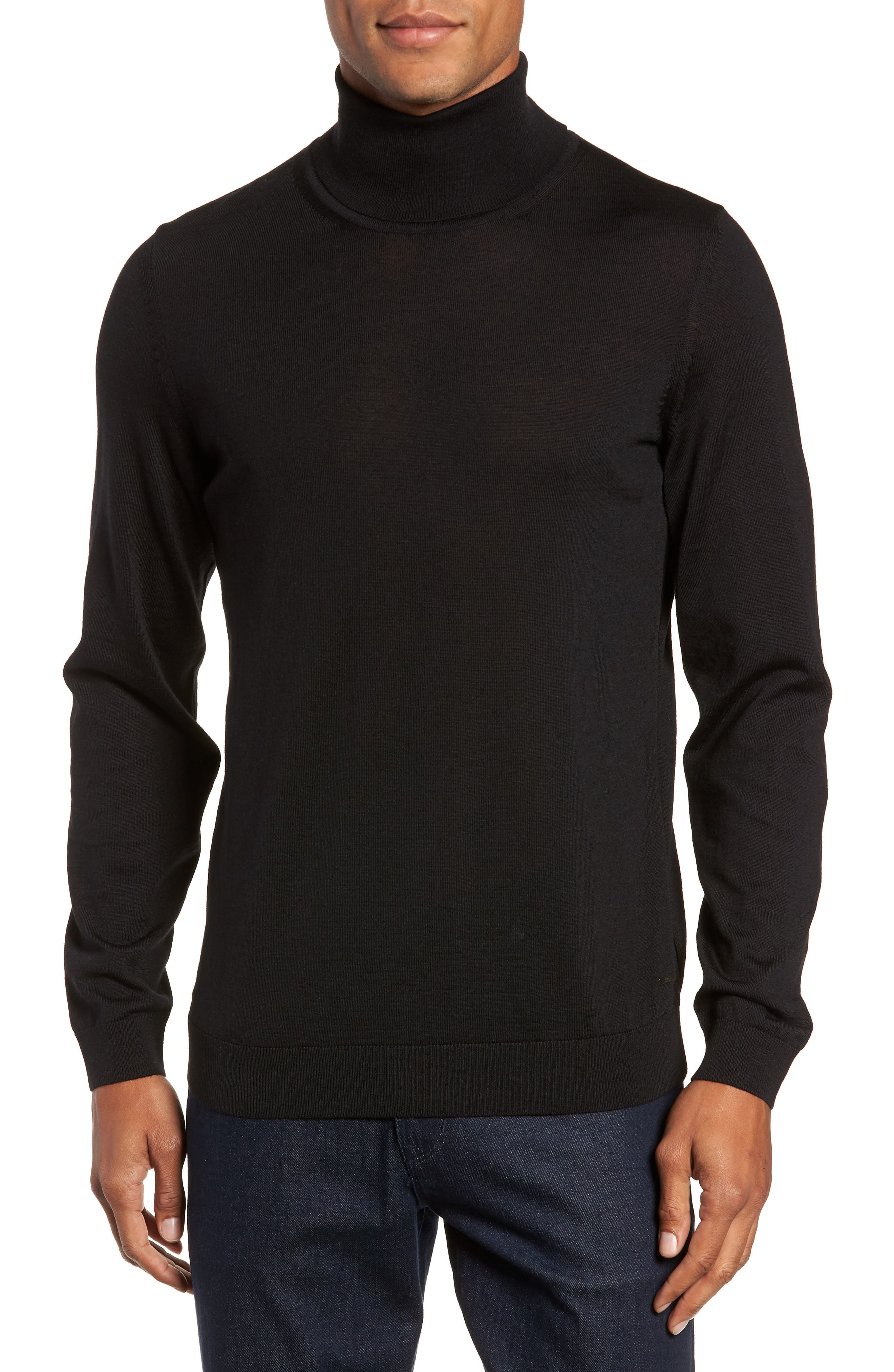 Musso Slim Fit Wool Turtleneck Sweater,                             Main thumbnail 1, color,                             BLACK