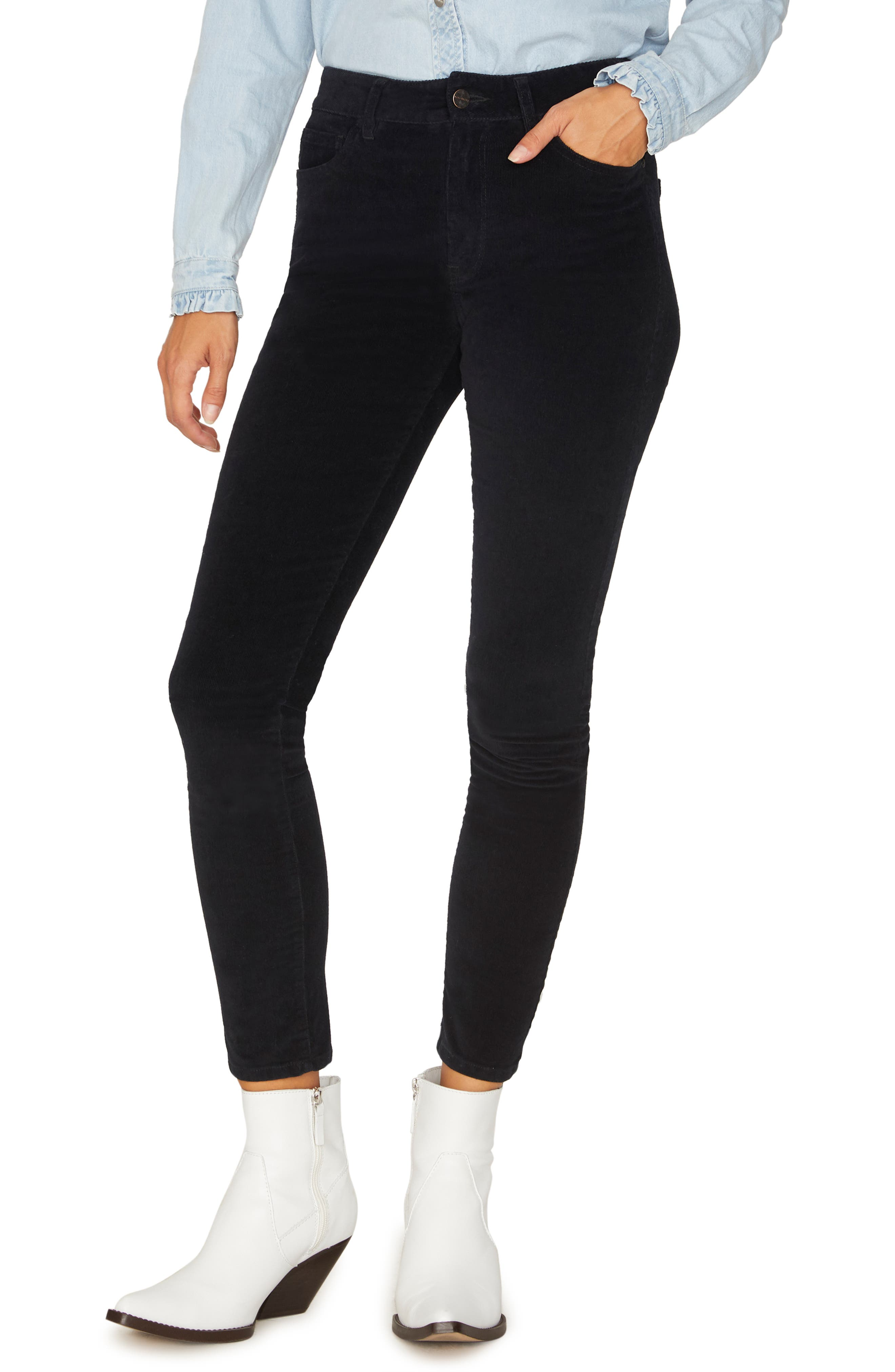 Social Standard Skinny Corduroy Pants,                         Main,                         color, BLACK