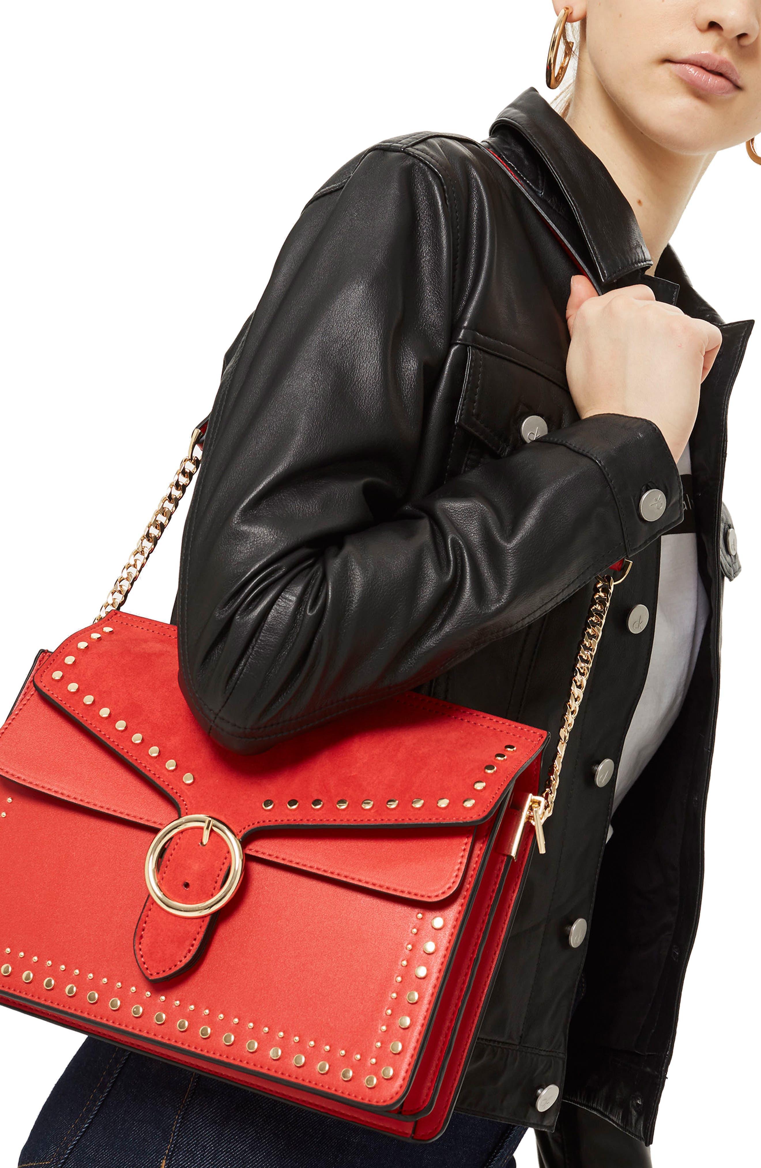 Peony Studded Shoulder Bag,                             Alternate thumbnail 8, color,