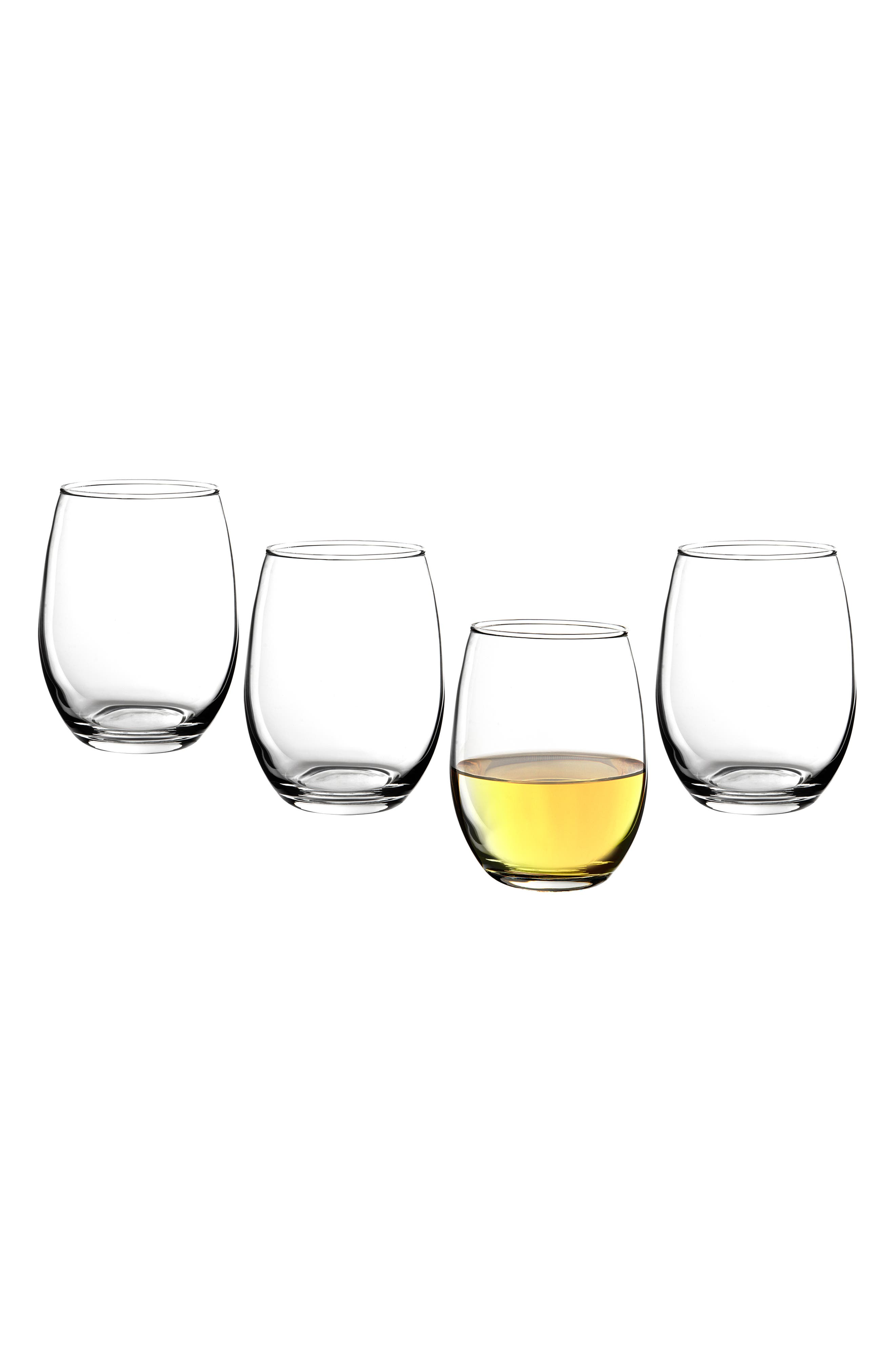 Estate Collection Set of 4 Monogram Stemless Wine Glasses,                         Main,                         color, BLANK