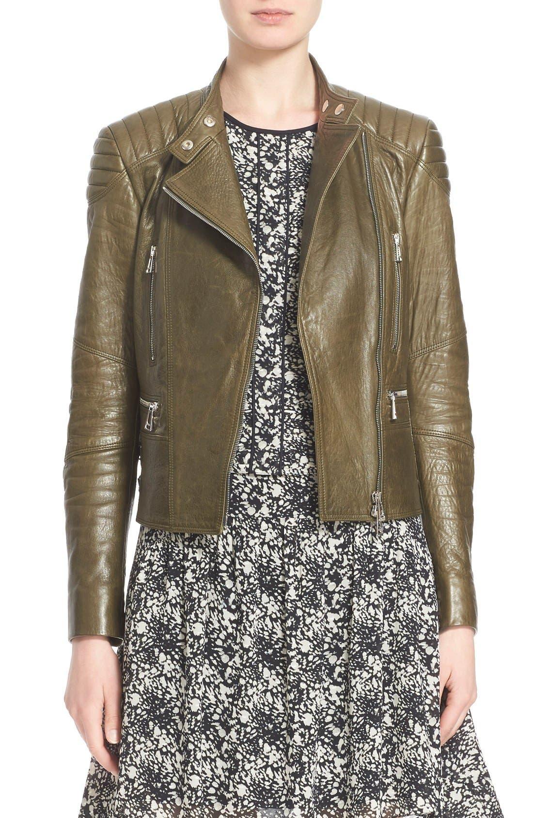 'Sidney' Leather Moto Jacket,                             Main thumbnail 1, color,                             338