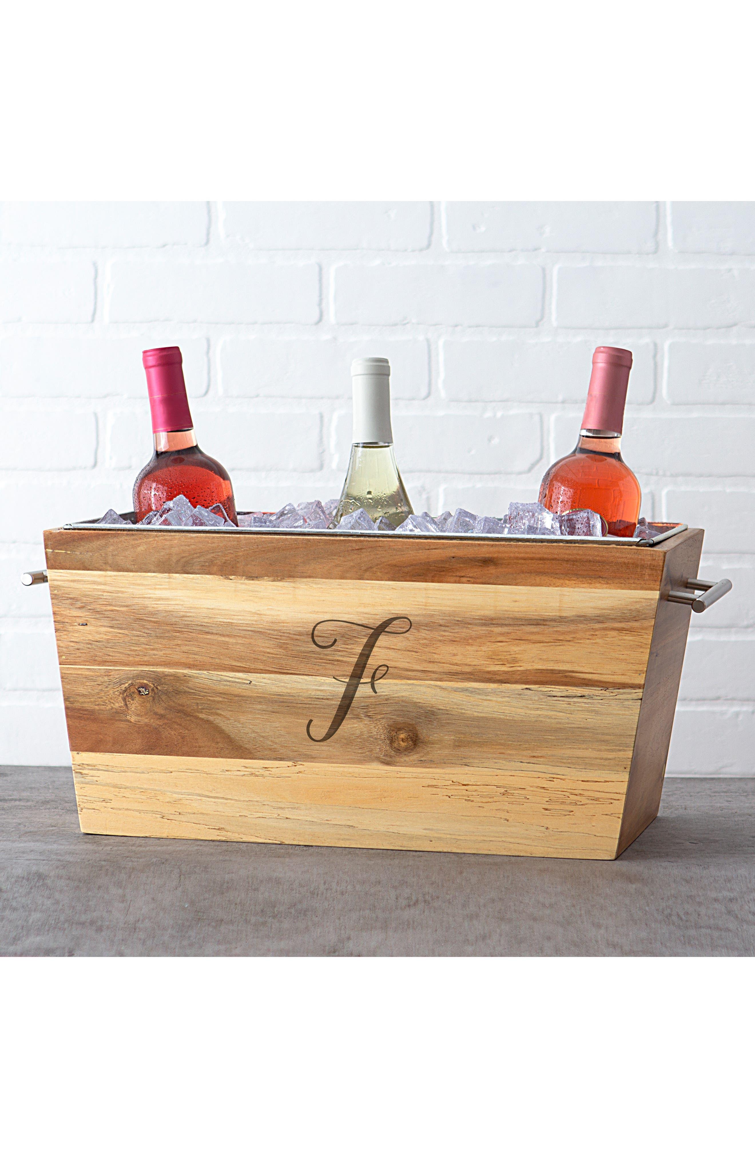 Monogram Wood Wine Trough,                             Alternate thumbnail 5, color,                             BROWN