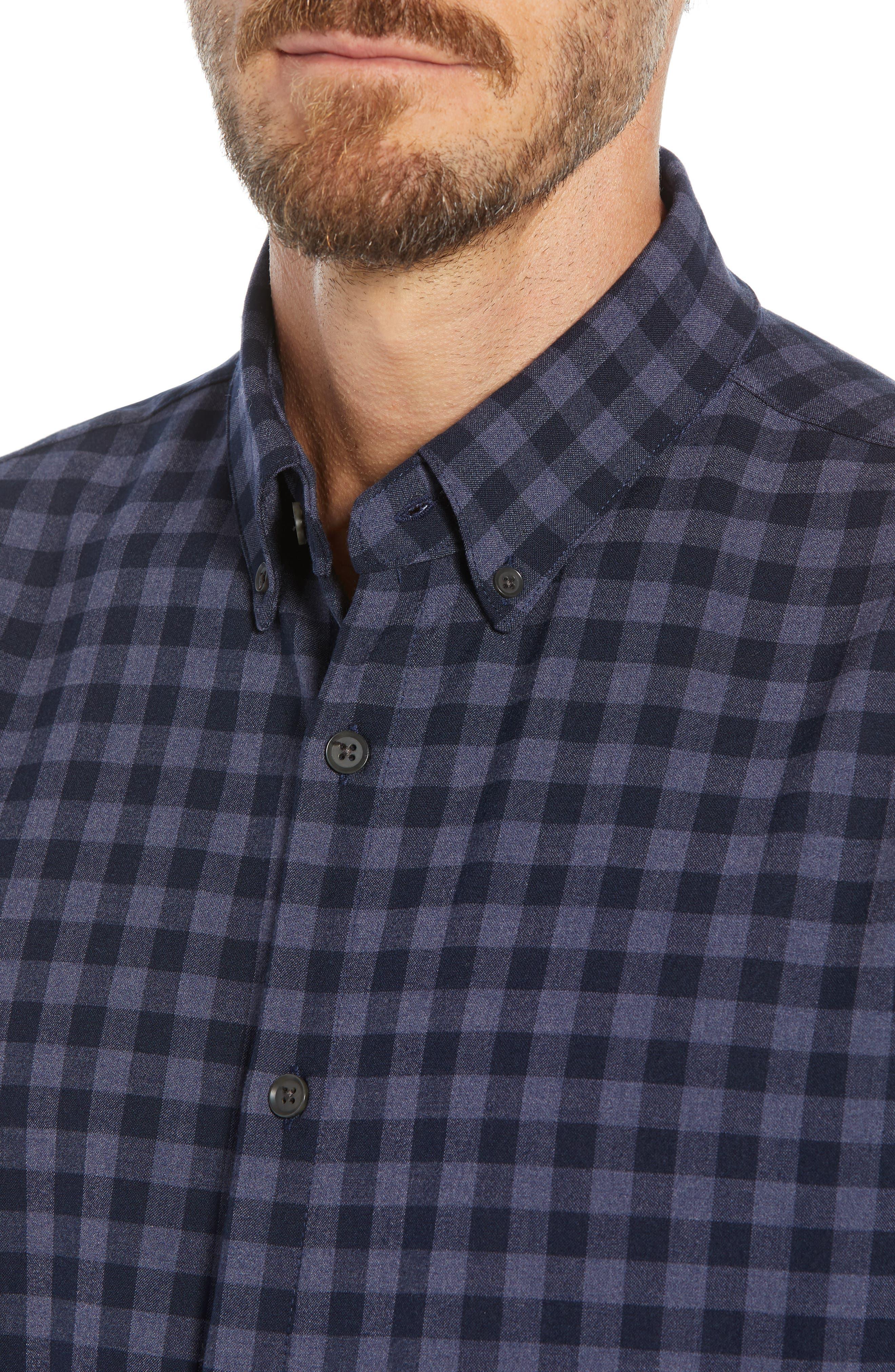 Palmetto Regular Fit Flannel Sport Shirt,                             Alternate thumbnail 2, color,                             NAVY