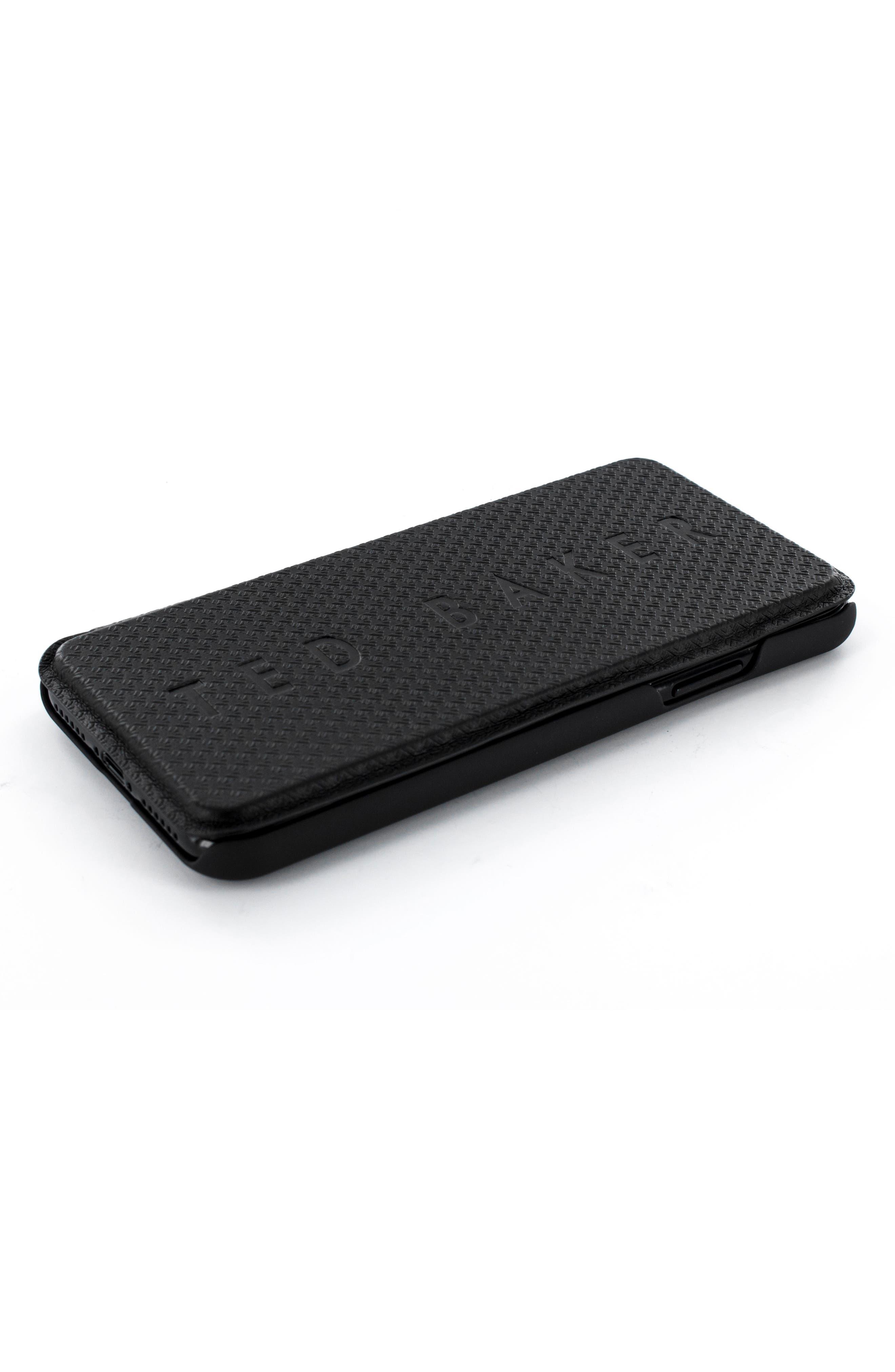 Callst Faux Leather iPhone 6/6s/7/8 Plus Folio Case,                             Alternate thumbnail 3, color,                             BLACK