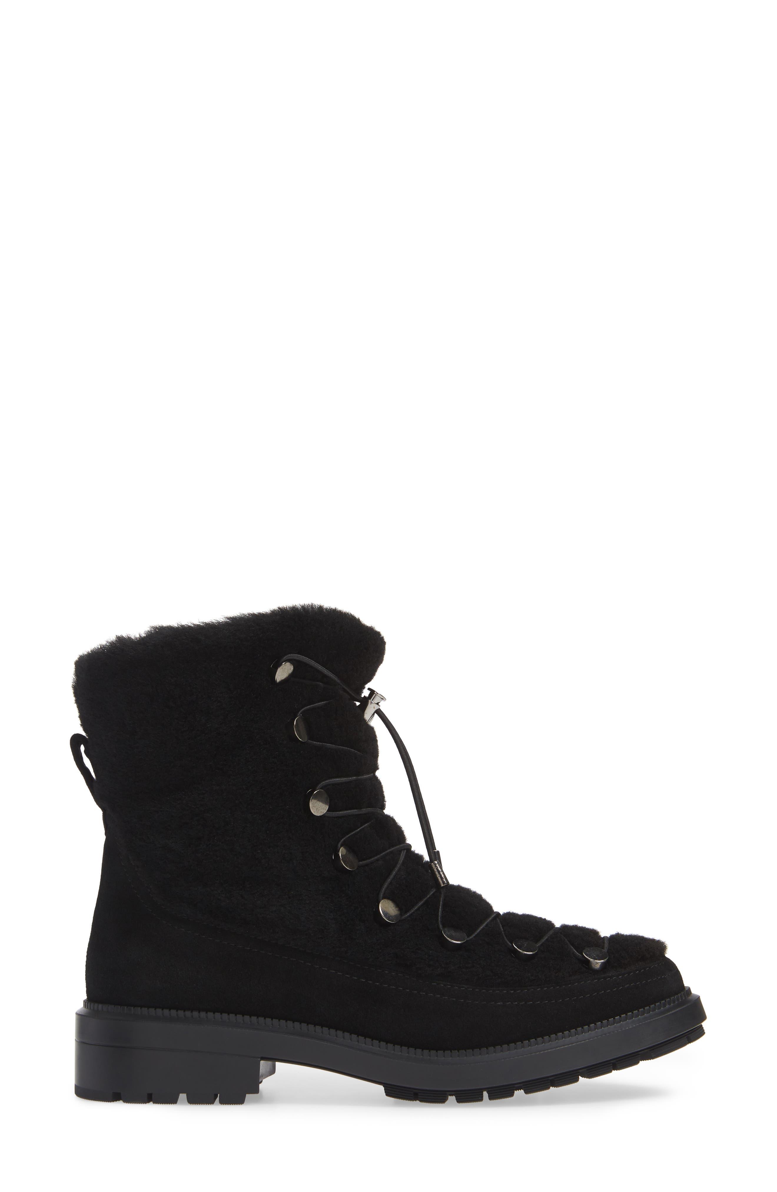 Lorena Genuine Shearling Boot,                             Alternate thumbnail 3, color,                             BLACK
