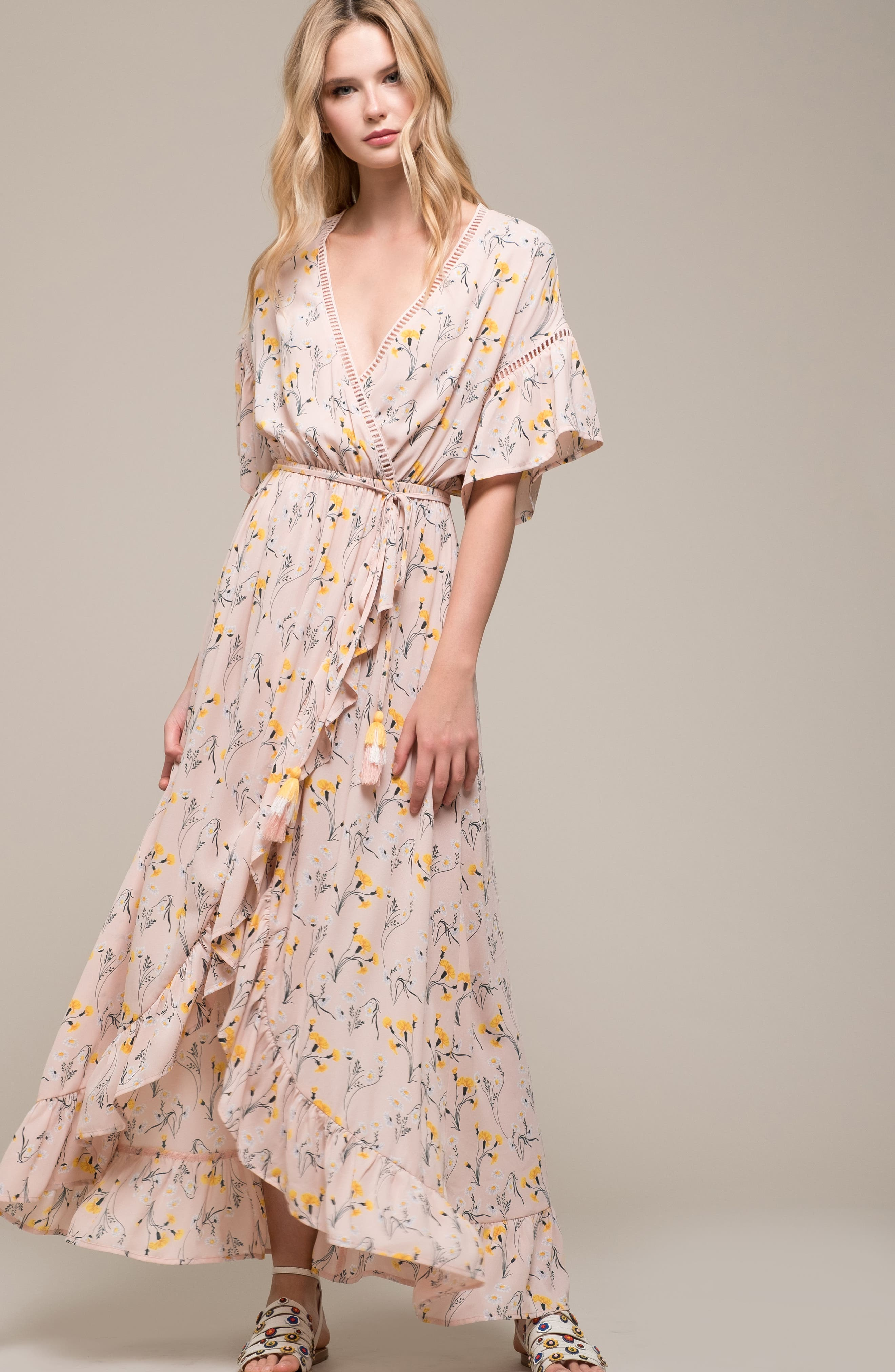Romance Floral Wrap Style Dress,                             Alternate thumbnail 7, color,                             650