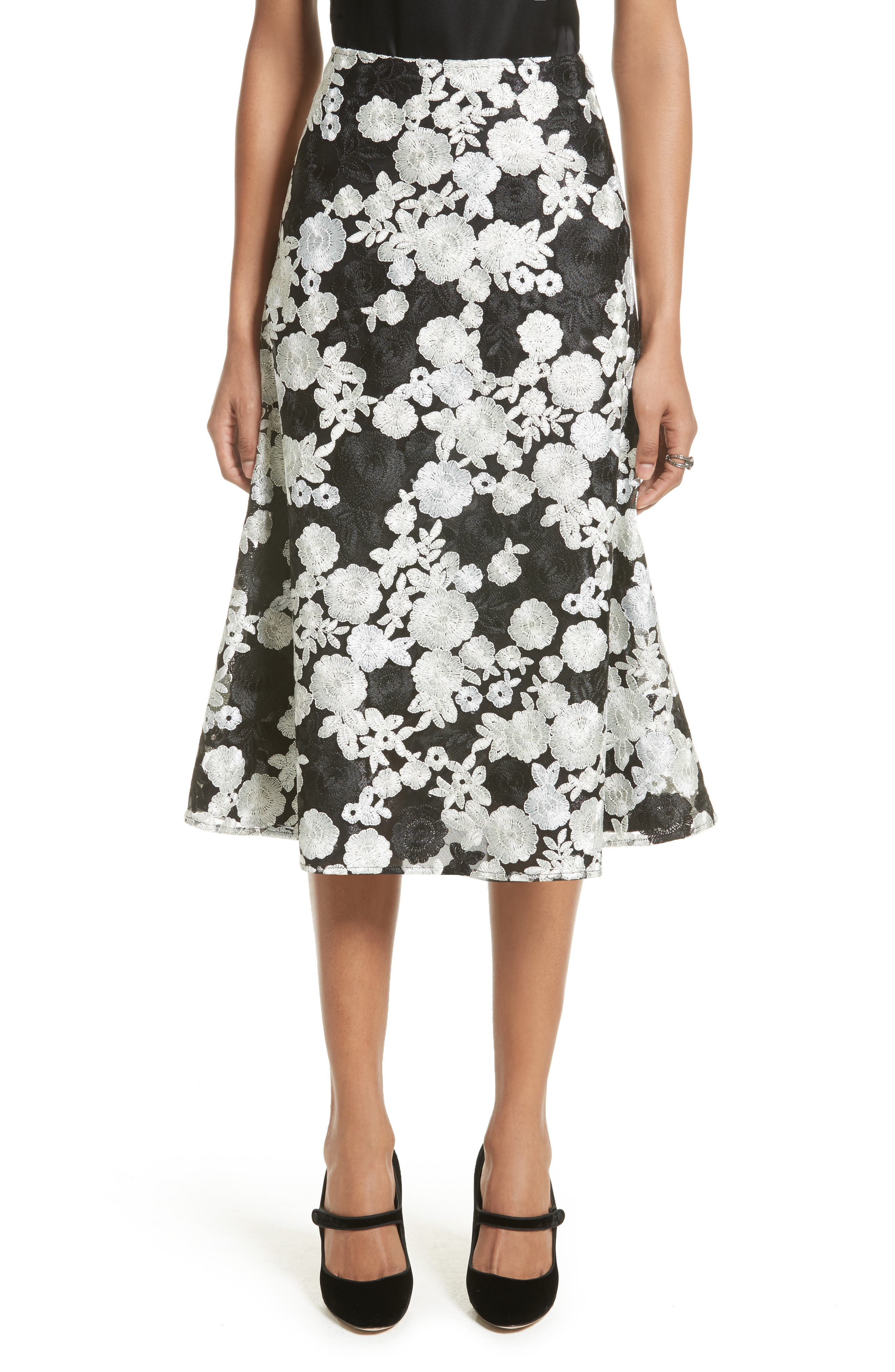 St. John Floral Embroidered Flared Skirt,                             Main thumbnail 1, color,                             001