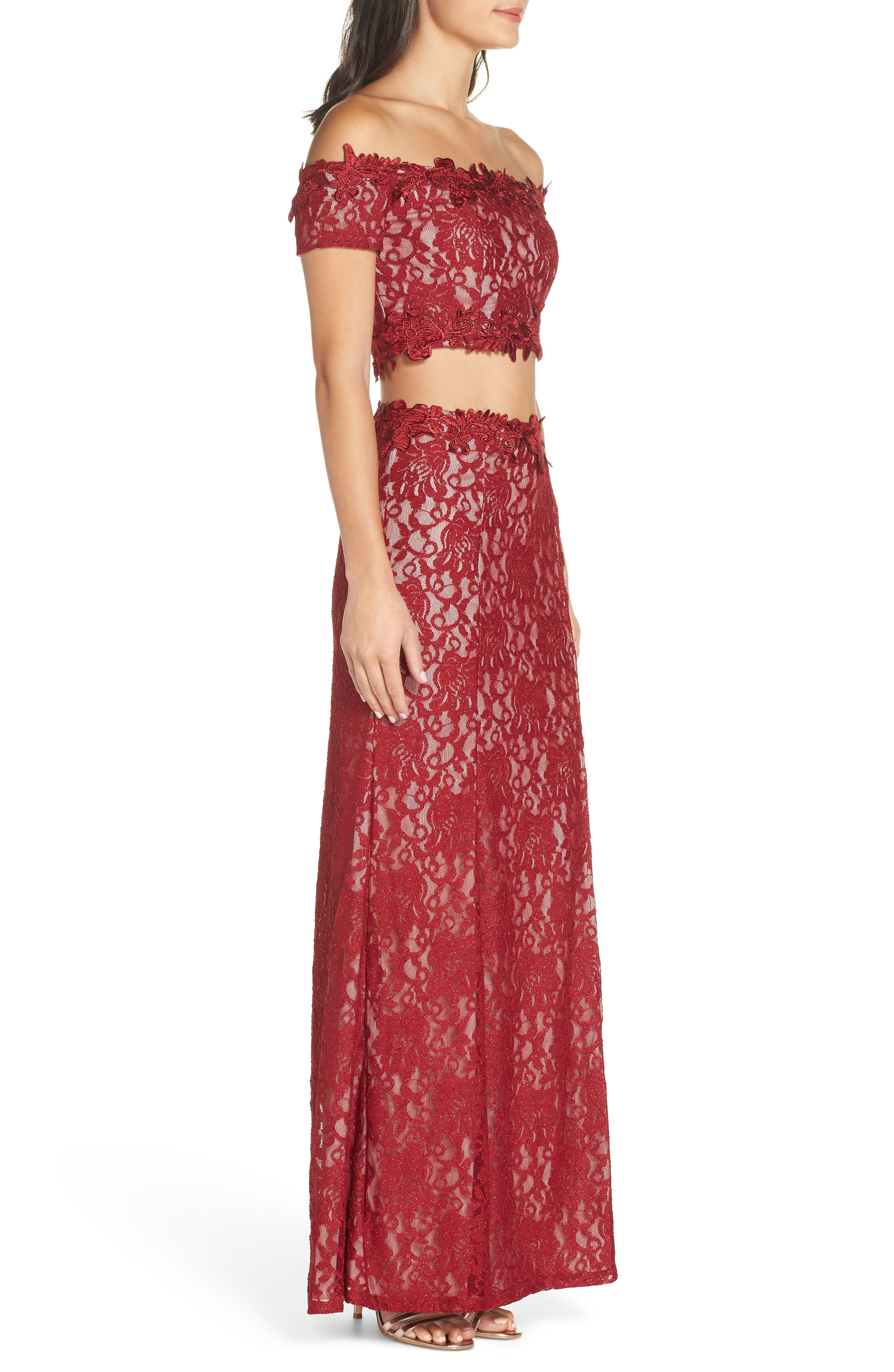 Two-Piece Off the Shoulder Lace Gown,                             Alternate thumbnail 3, color,                             WINE