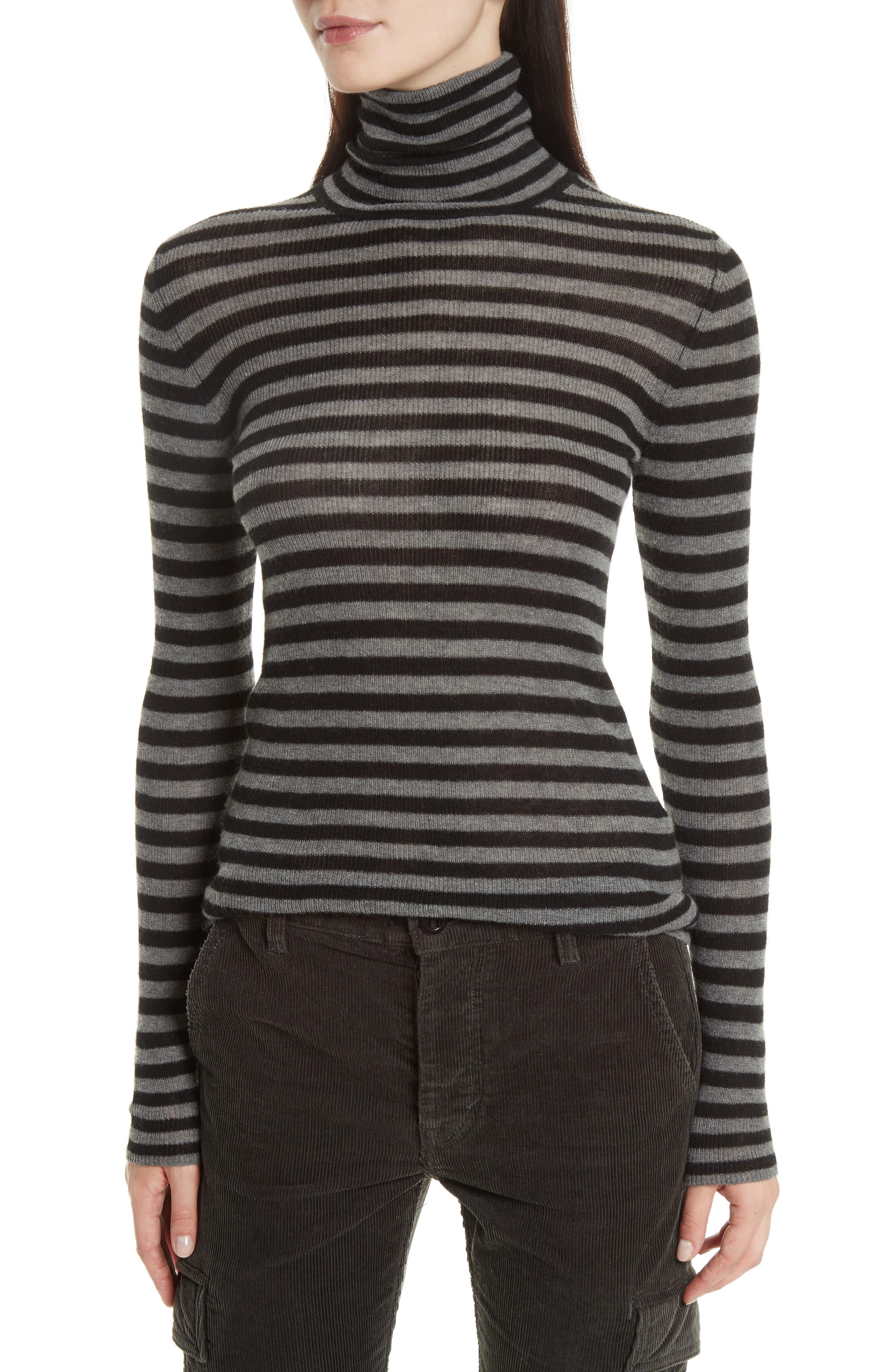 Stripe Ribbed Turtleneck,                         Main,                         color, 085