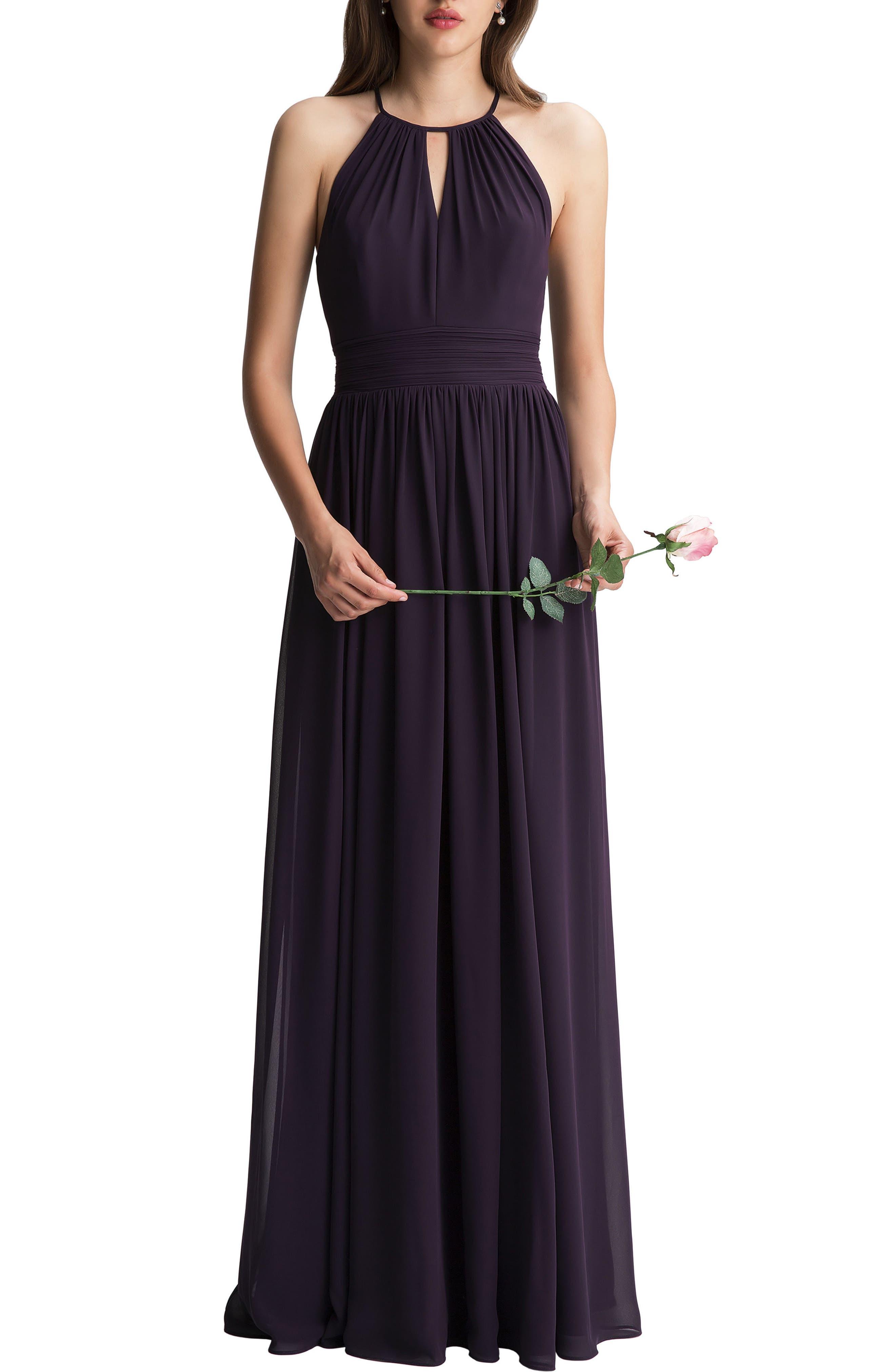 #levkoff Keyhole Chiffon A-Line Gown, Purple