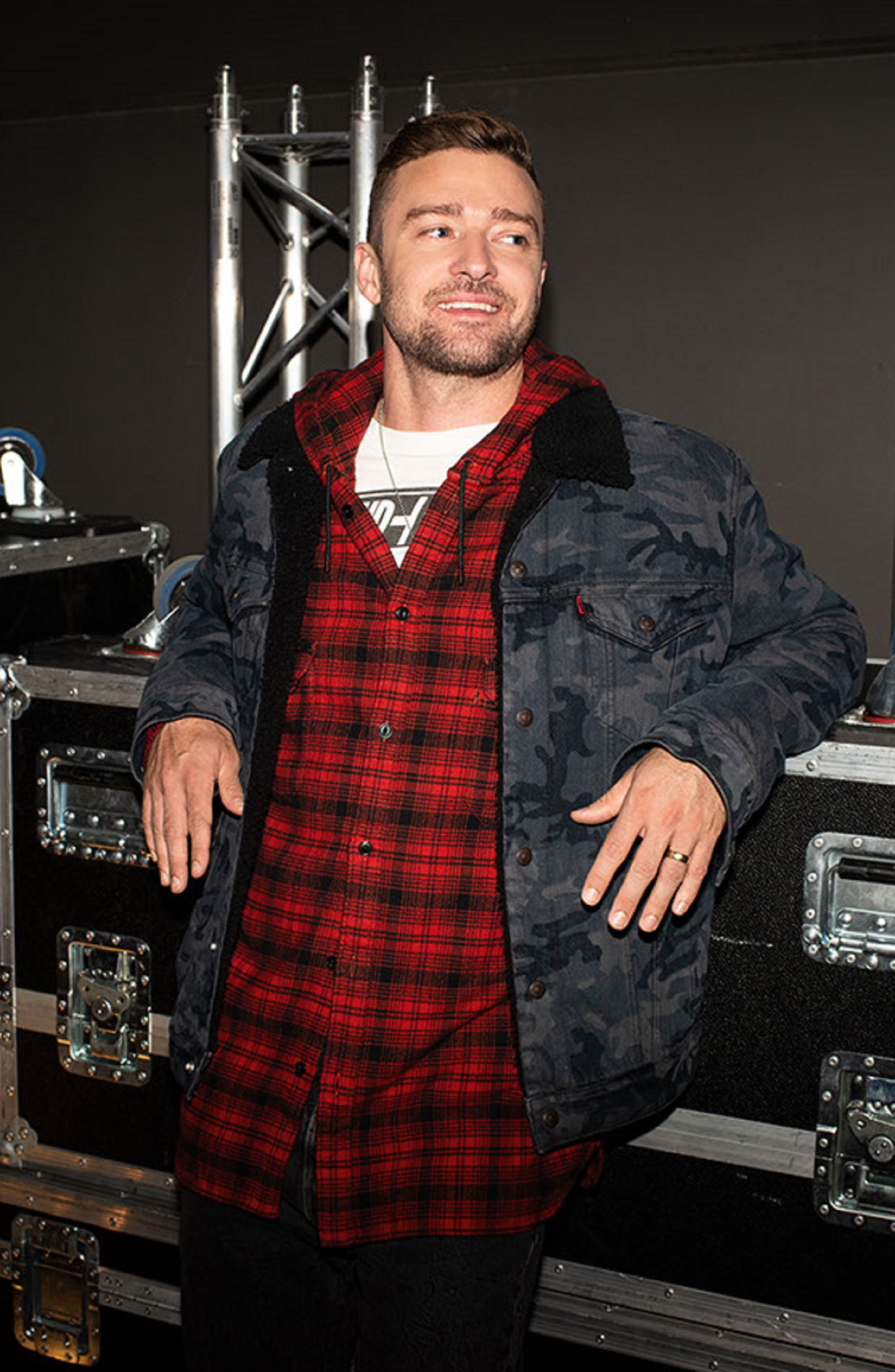 x Justin Timberlake Hooded Flannel Worker Shirt,                             Alternate thumbnail 8, color,                             SERVAL CRIMSON
