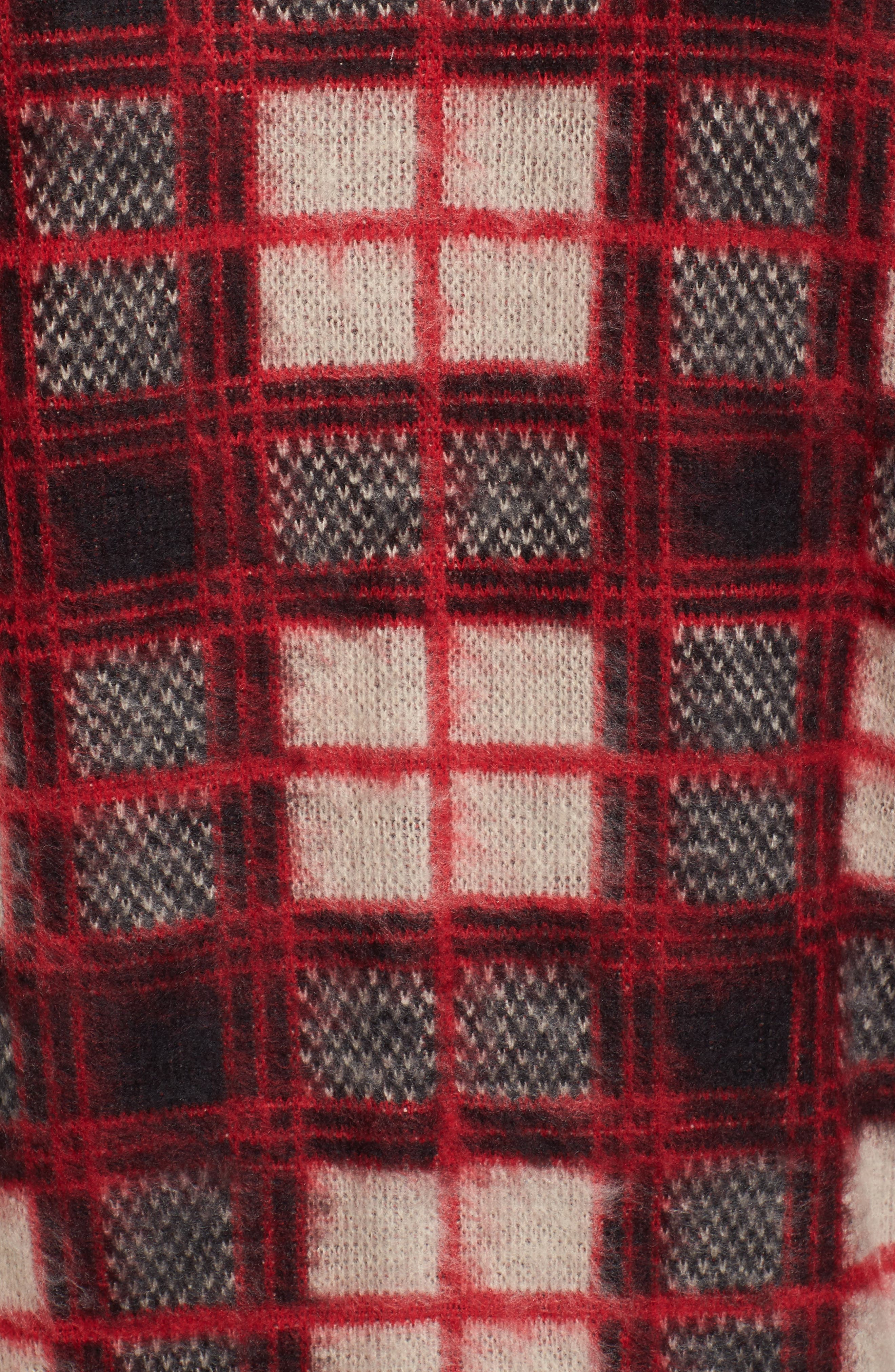Fuzzy Plaid Sweater,                             Alternate thumbnail 5, color,                             610