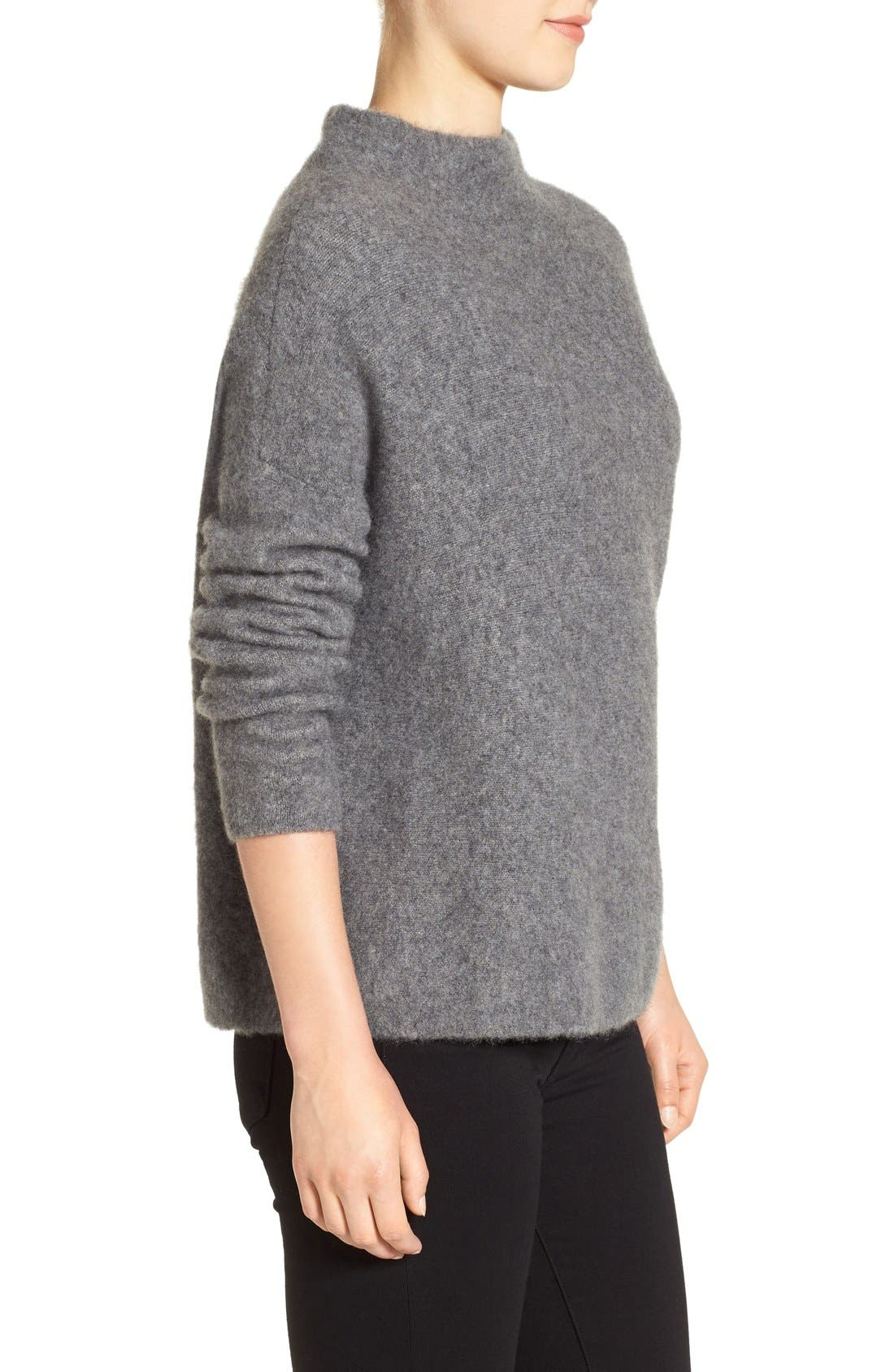 'Bouclé Bliss' Cashmere & Silk Blend Funnel Neck Sweater,                             Alternate thumbnail 11, color,