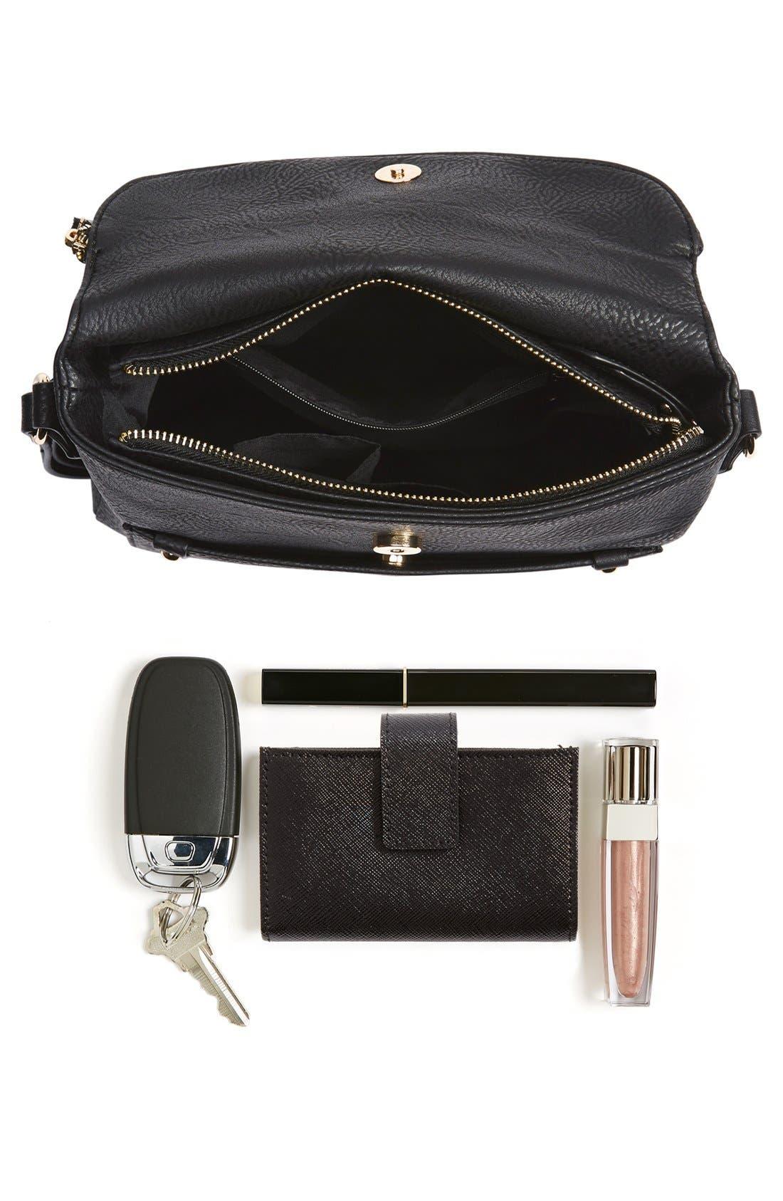 Zip Flap Faux Leather Crossbody Bag,                             Alternate thumbnail 2, color,                             001
