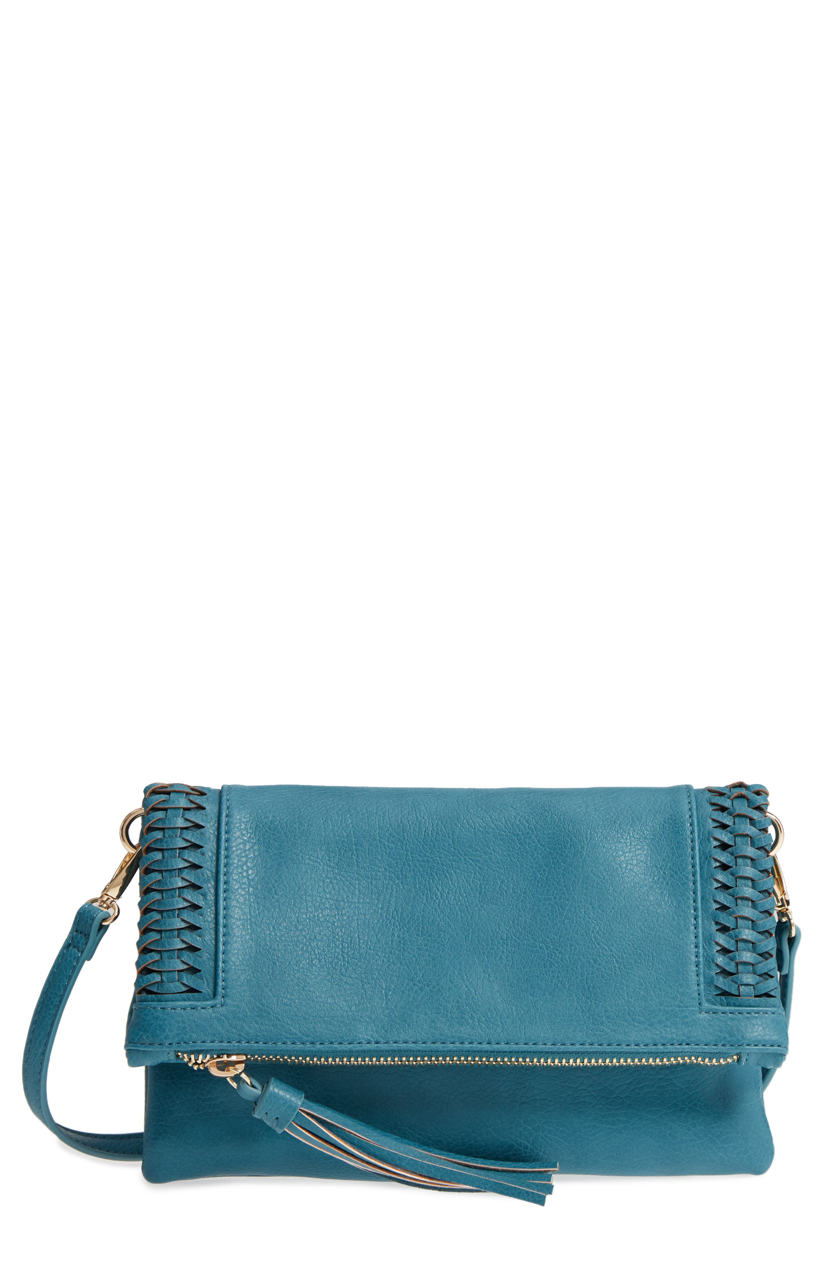 Tara Whipstitched Faux Leather Clutch,                             Main thumbnail 2, color,