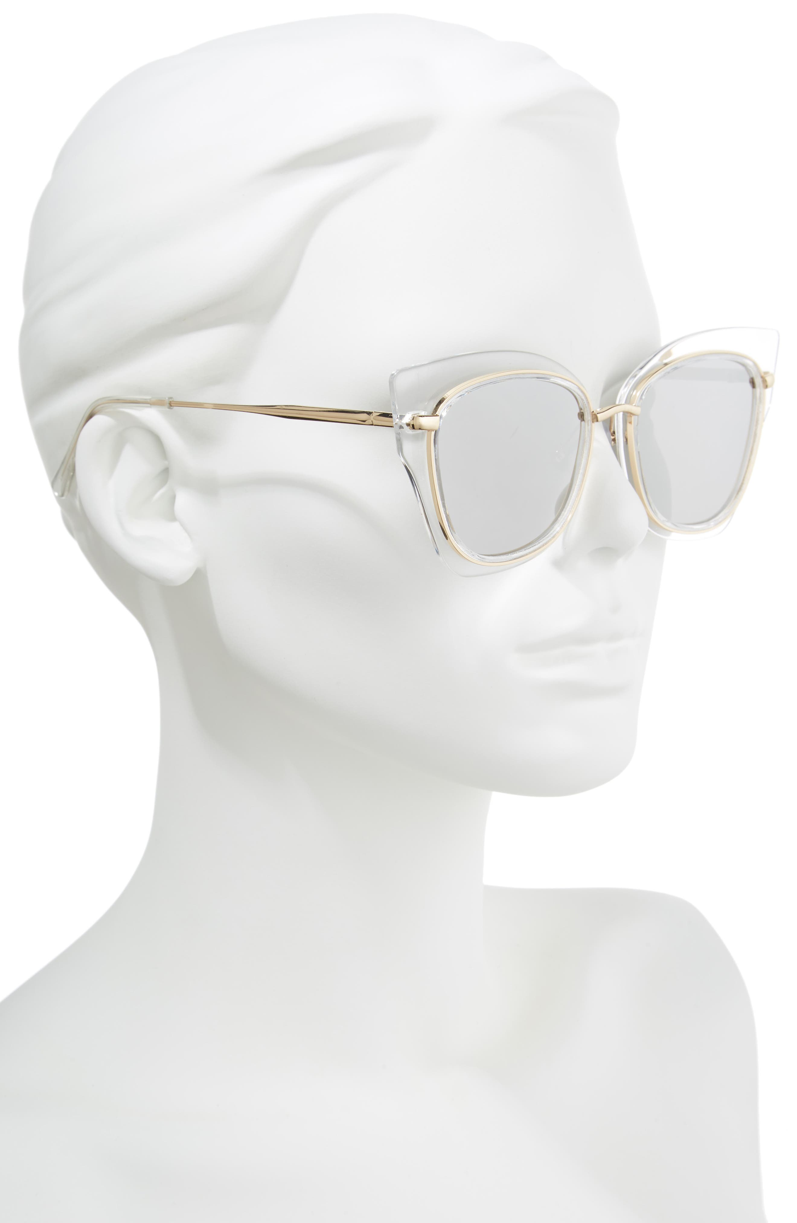 55mm Clear Winged Cat Eye Sunglasses,                             Alternate thumbnail 2, color,                             CLEAR/ GOLD