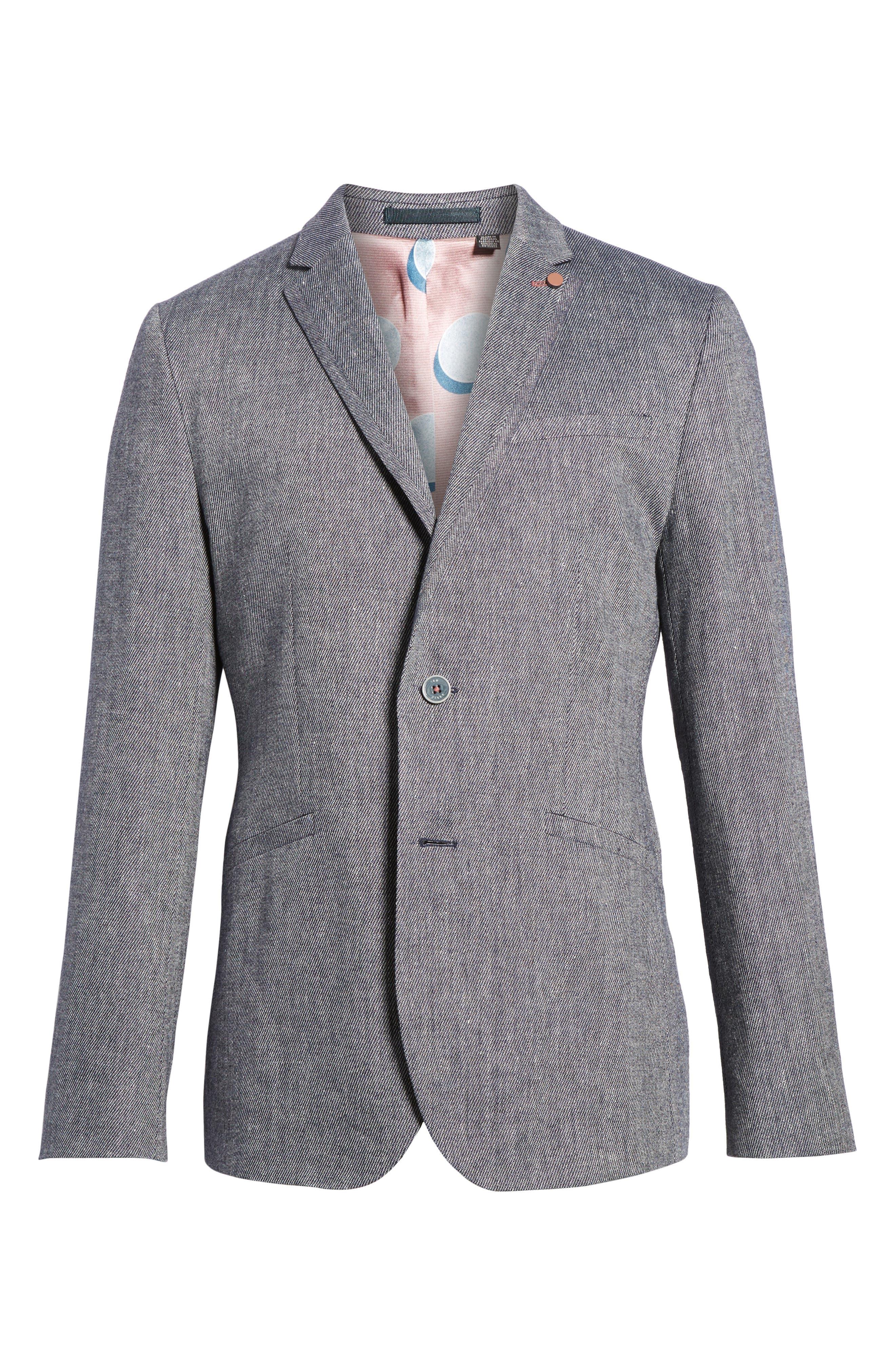 Hines Trim Fit Linen Blend Blazer,                             Alternate thumbnail 5, color,                             BLUE