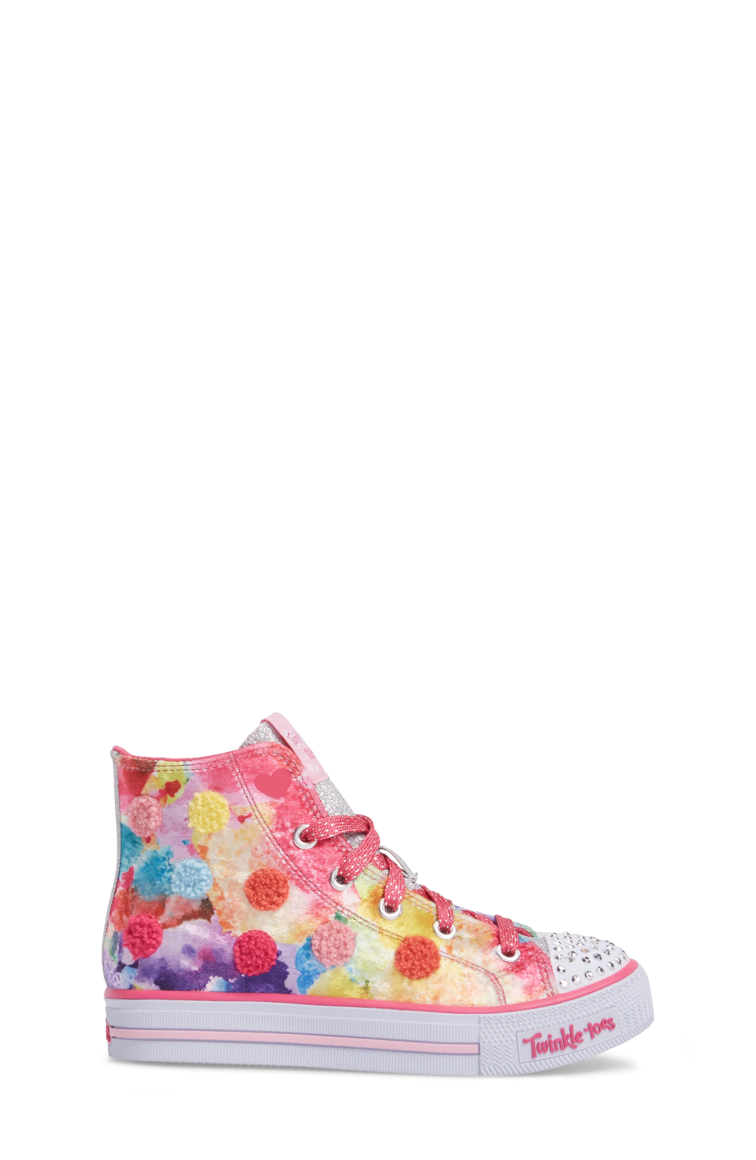 SKECHERS,                             Twinkle Toes Shuffles Light-Up High Top Sneaker,                             Alternate thumbnail 3, color,                             650