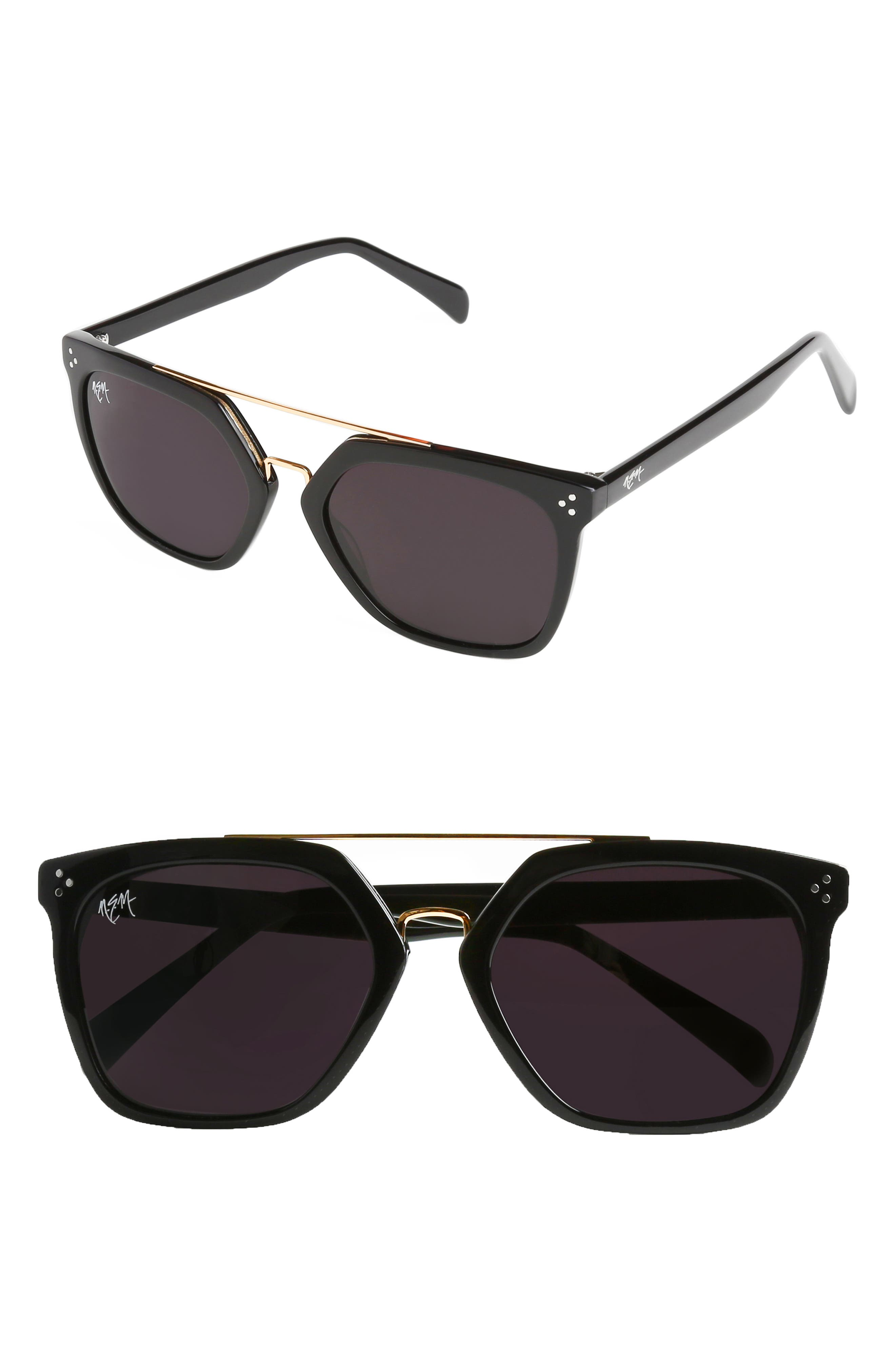 55mm Sunglasses,                         Main,                         color, GLOSSY BLACK