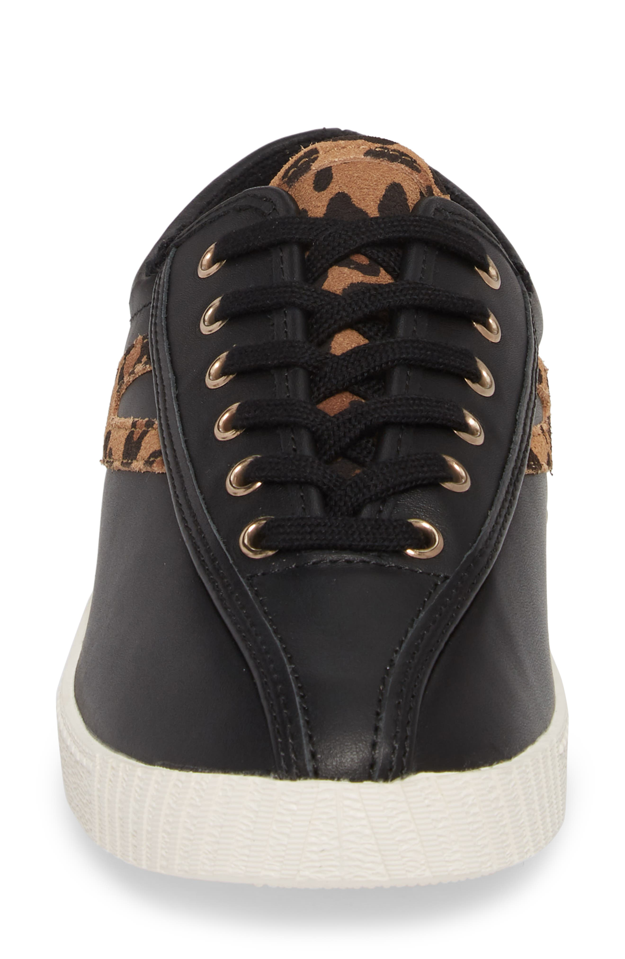 Patterned Sneaker,                             Alternate thumbnail 4, color,                             BLACK/ TAN/ BLACK LEATHER