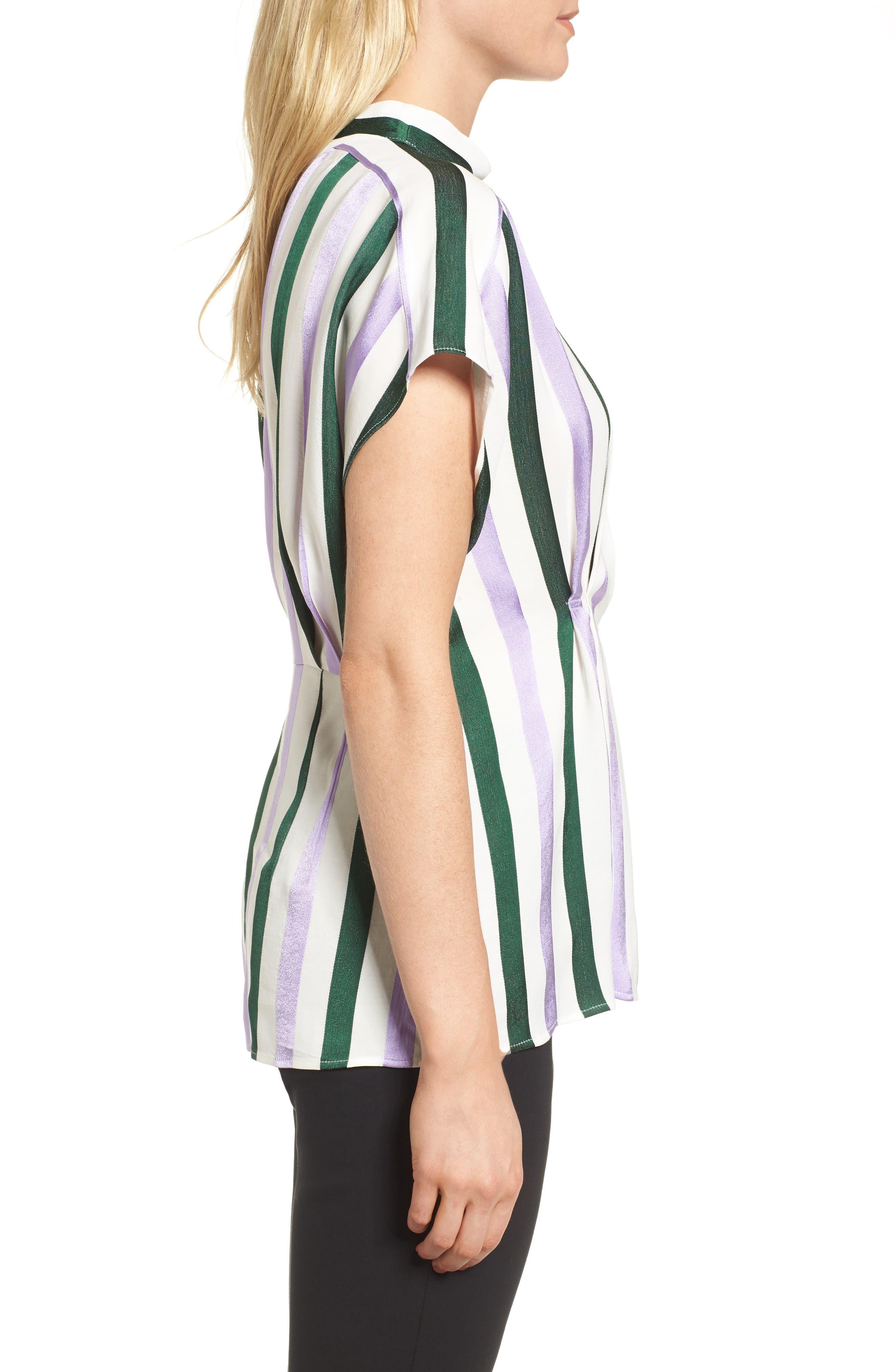 Stripe Draped Peplum Top,                             Alternate thumbnail 3, color,                             310