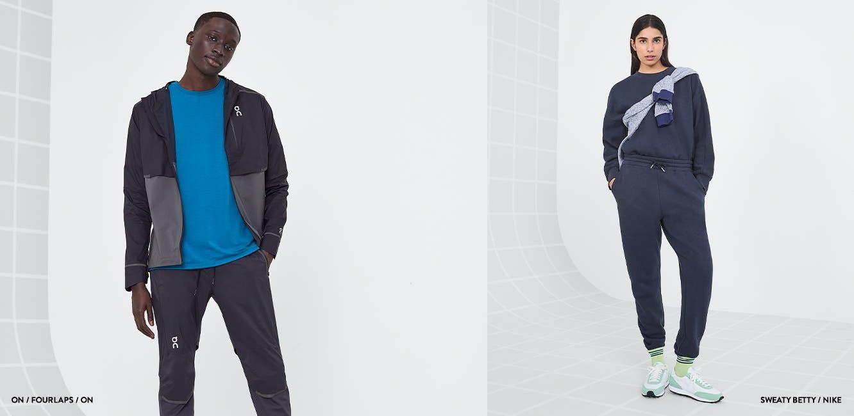 Man wearing running jacket, T-shirt and shorts. Woman wearing sweatshirt, sweatpants and running shoes.