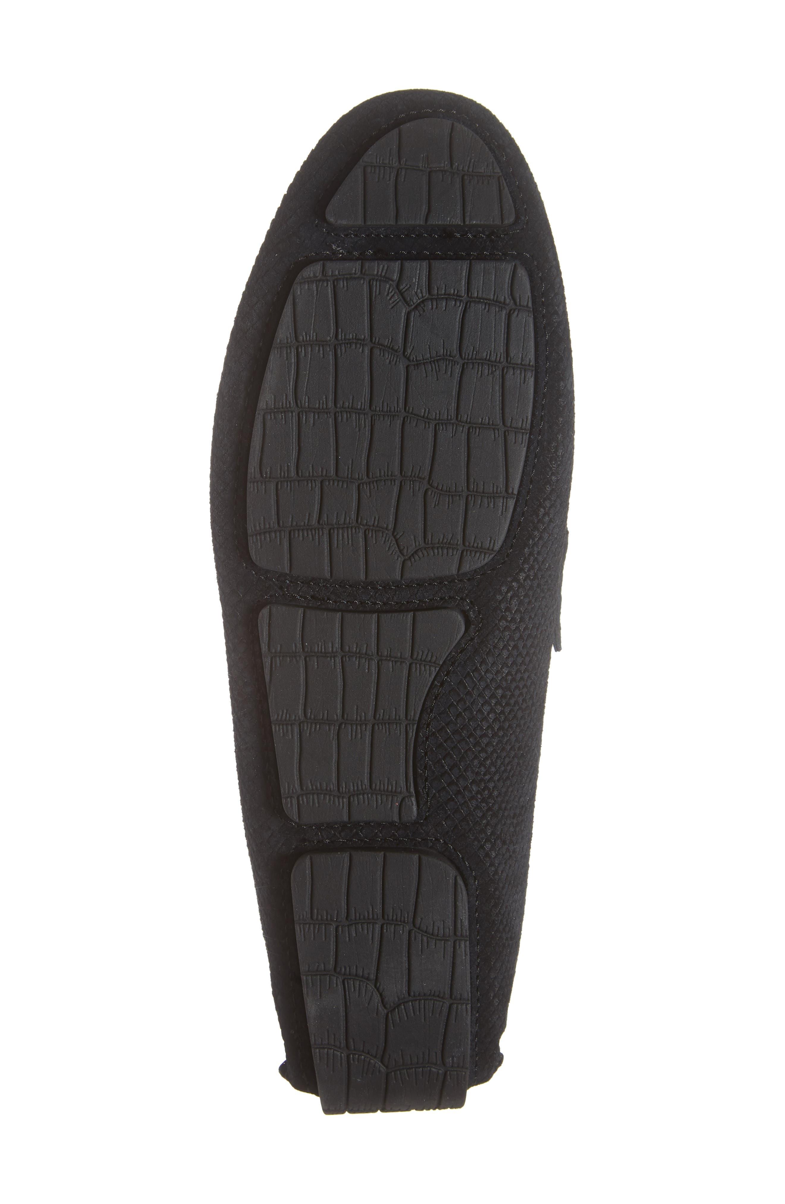 Brewer Croc Textured Driving Loafer,                             Alternate thumbnail 6, color,                             BLACK/BLACK