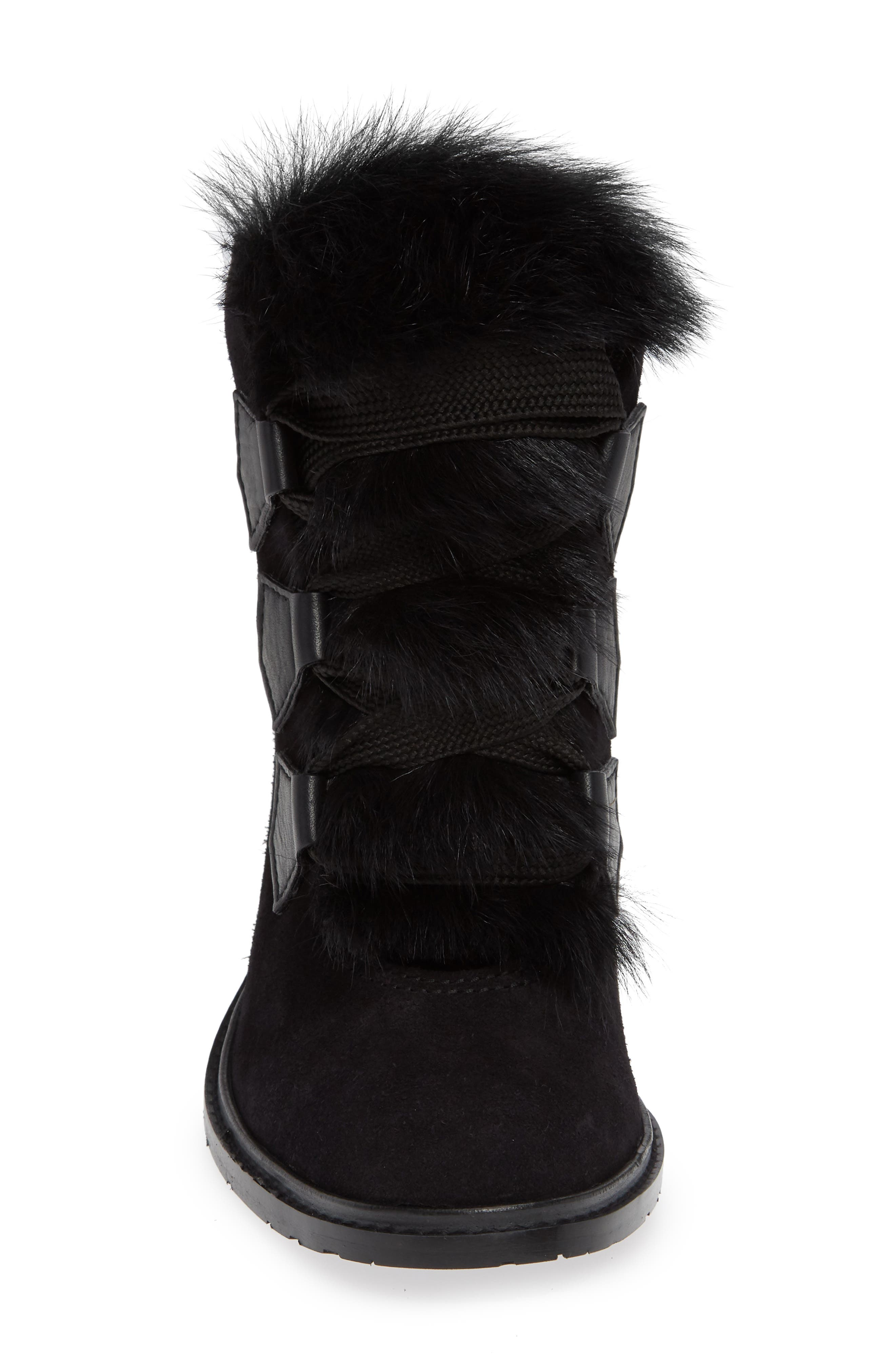 Wilmette Bootie with Genuine Shearling Trim,                             Alternate thumbnail 4, color,                             BLACK CHURRA