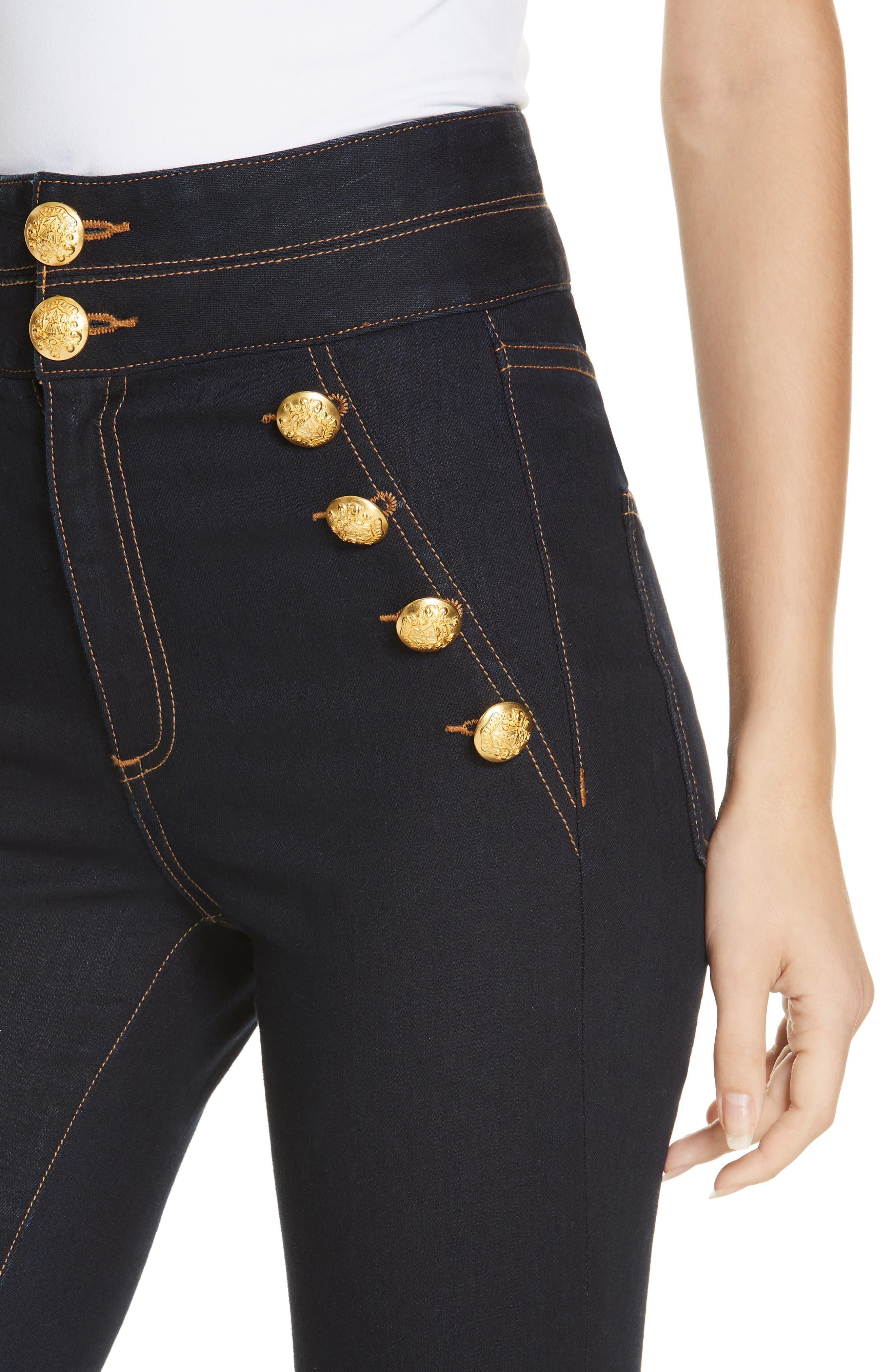 Dalida Button Detail Skinny Flare Jeans,                             Alternate thumbnail 4, color,                             INDIGO